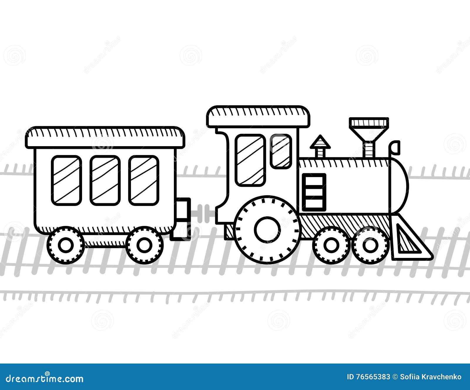 Книжка-раскраска поезда для детей Иллюстрация вектора ...