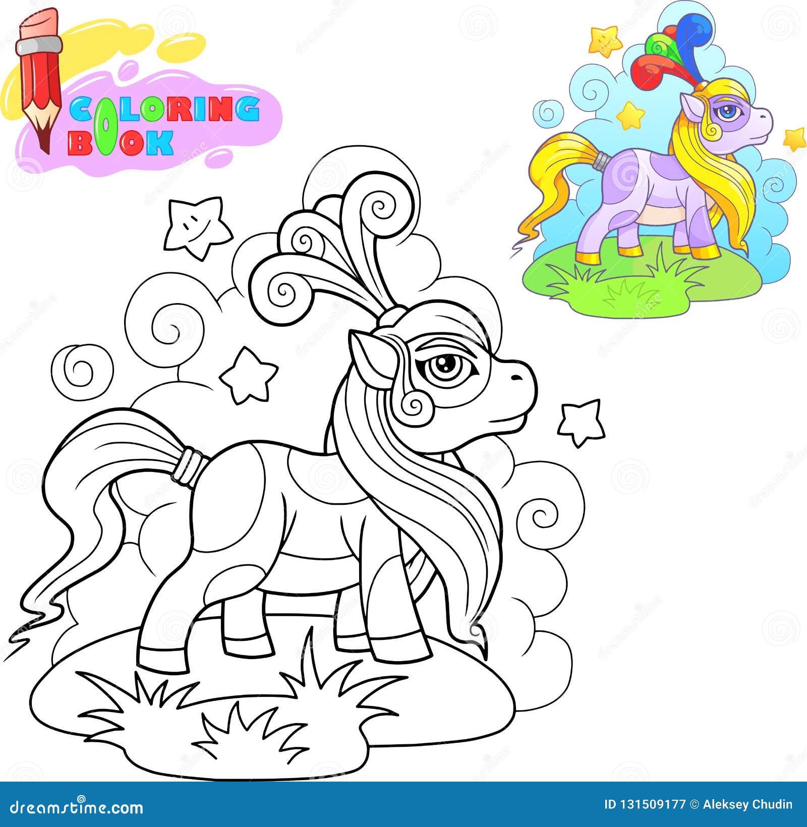 книжка раскраска пони мультфильма для прогулки иллюстрация