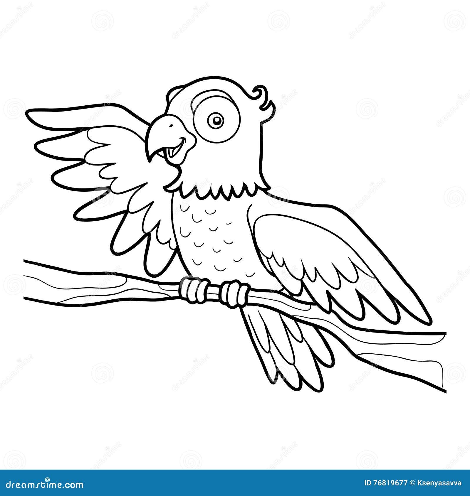 книжка раскраска попугай иллюстрация вектора иллюстрации