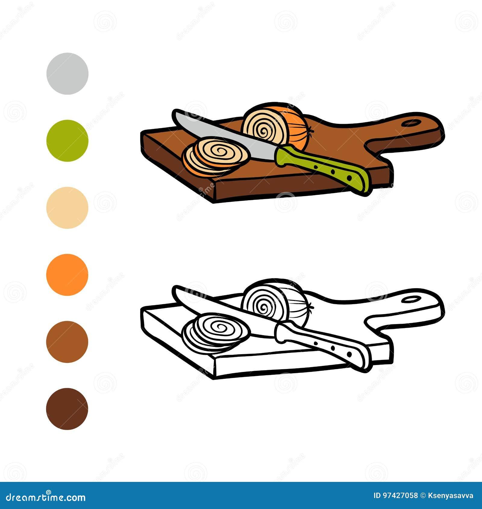 книжка раскраска разделочная доска и лук иллюстрация