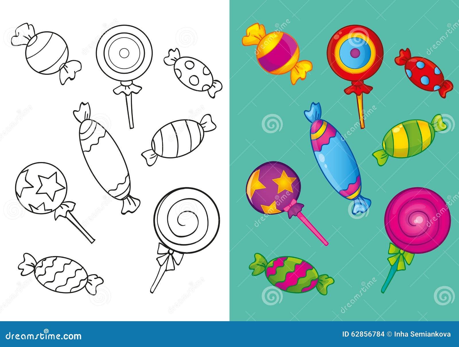 книжка раскраска различных сладостных конфет иллюстрация