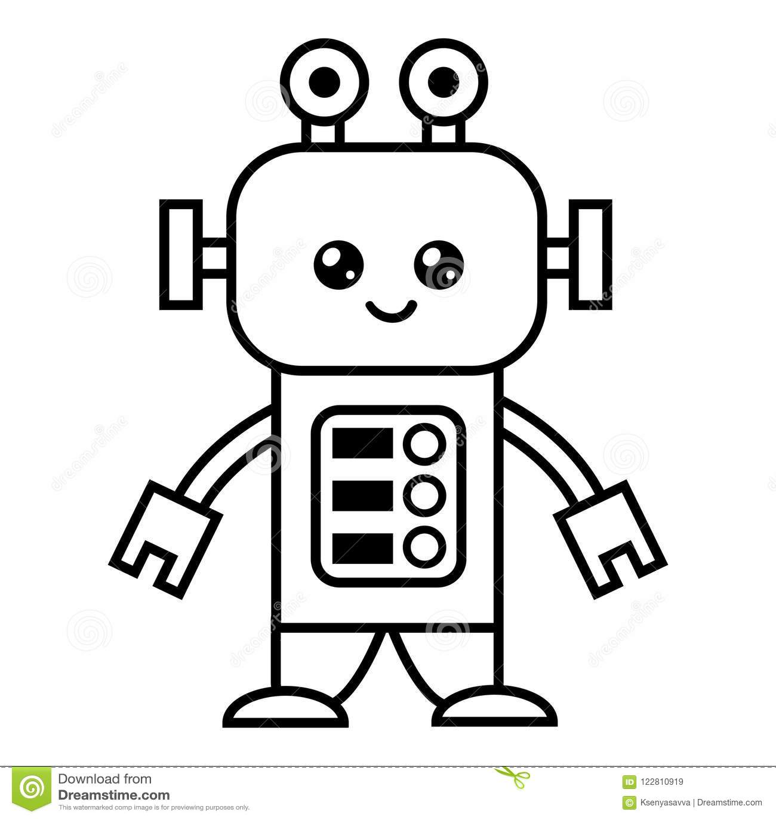 книжка раскраска робот иллюстрация вектора иллюстрации