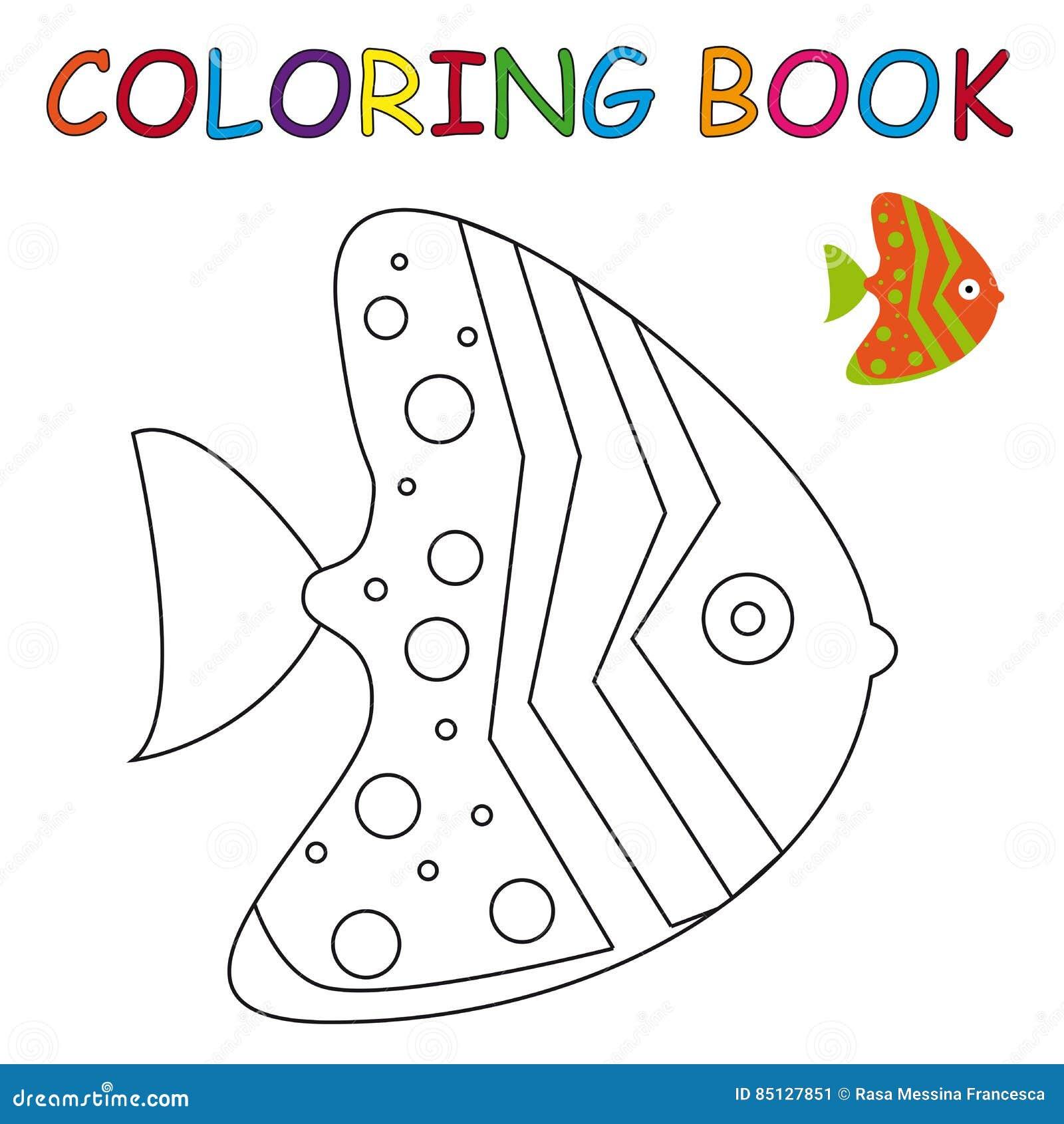 книжка раскраска рыба иллюстрация вектора иллюстрации