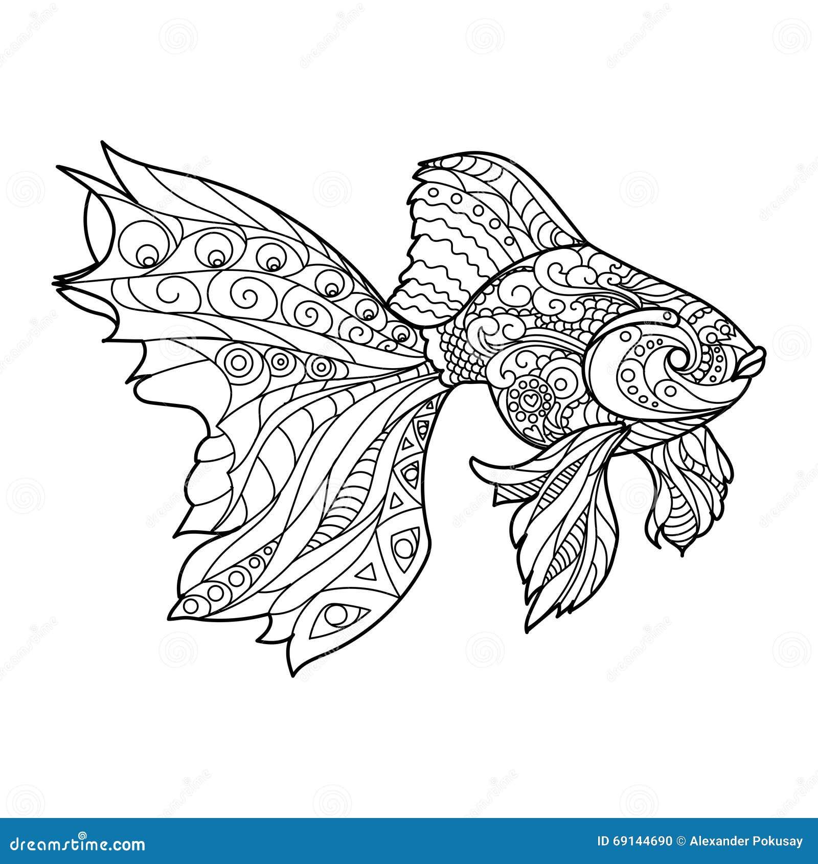 Kleurplaat Fractal Книжка раскраска рыб золота для вектора взрослых