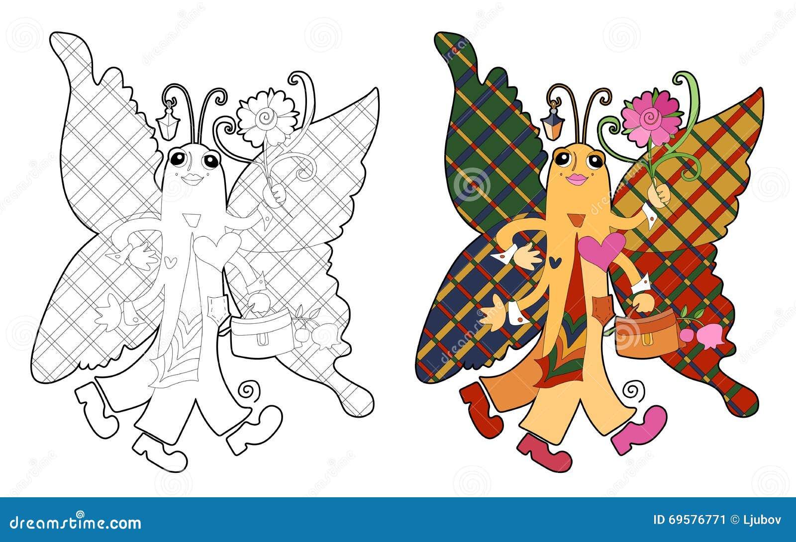 Книжка-раскраска с красивой бабочкой Иллюстрация вектора ...