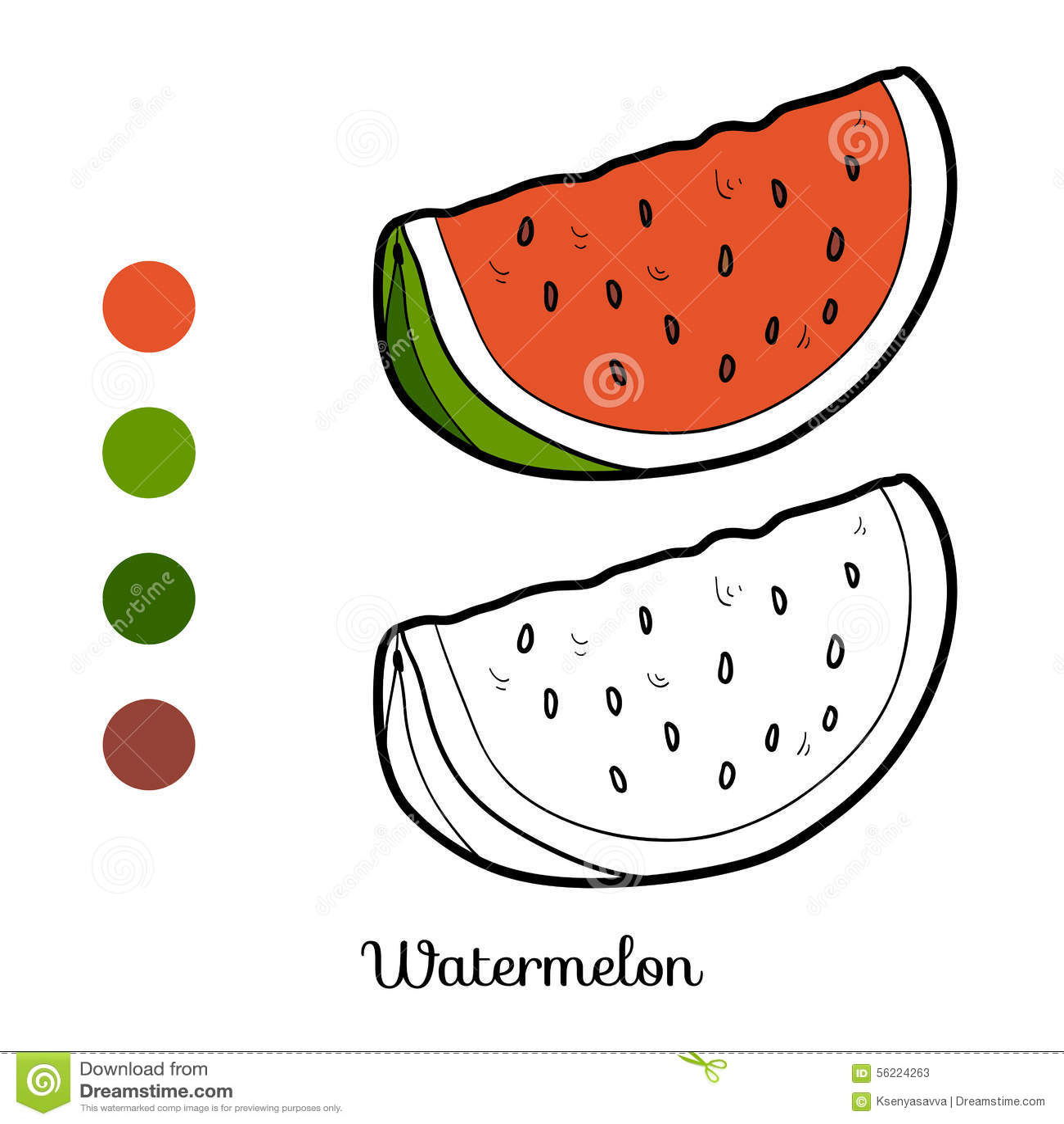 Книжка-раскраска: фрукты и овощи (арбуз) Иллюстрация ...