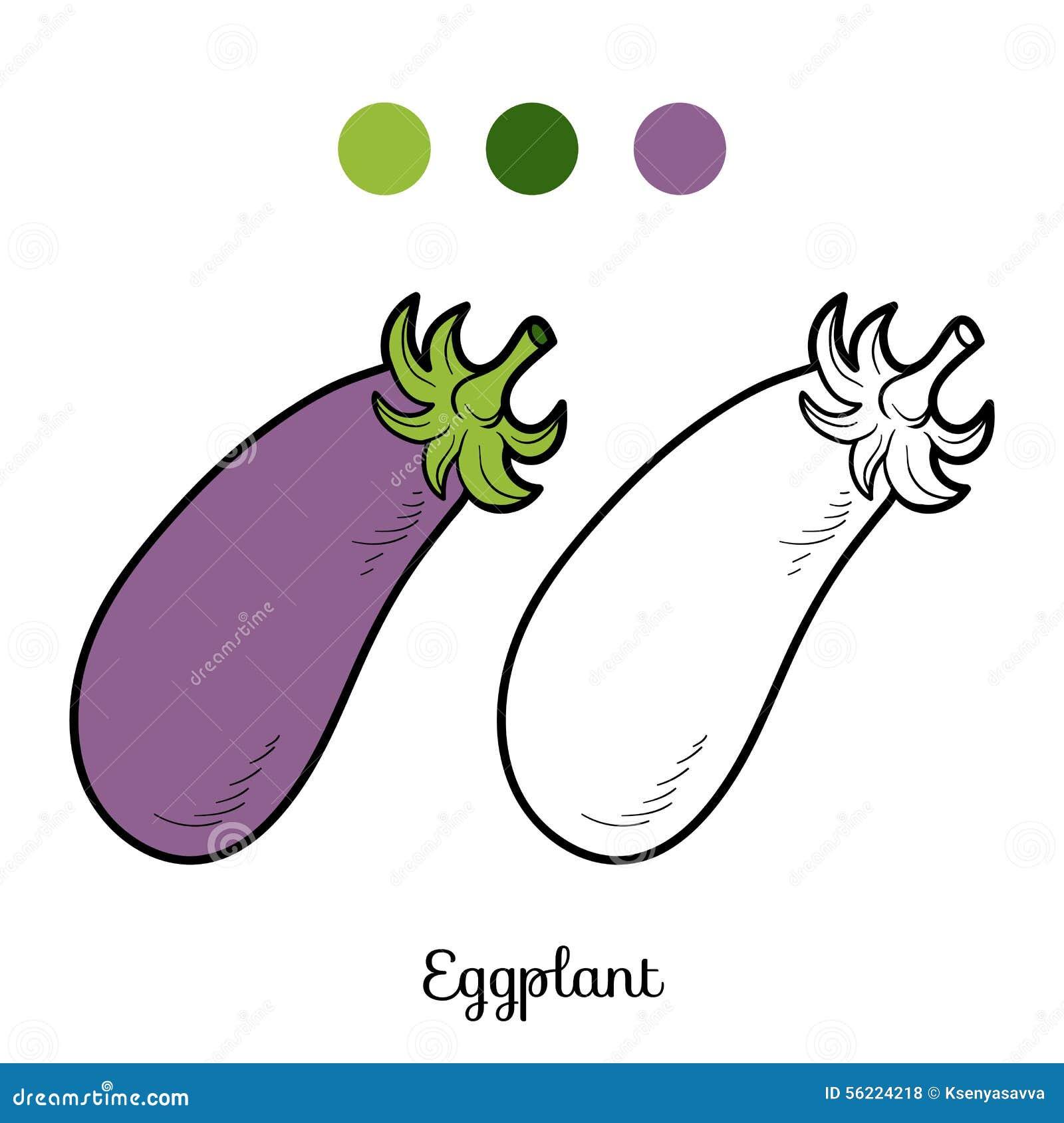 Книжка-раскраска: фрукты и овощи (баклажан) Иллюстрация ...