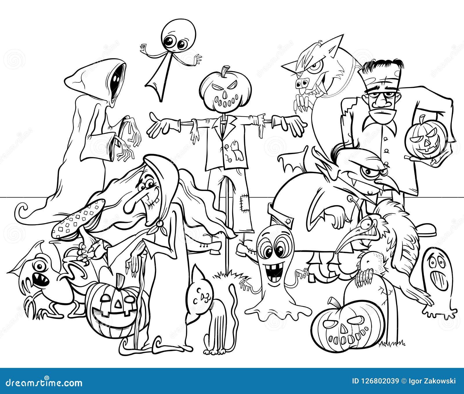 книжка раскраска характеров шаржа праздника хеллоуина