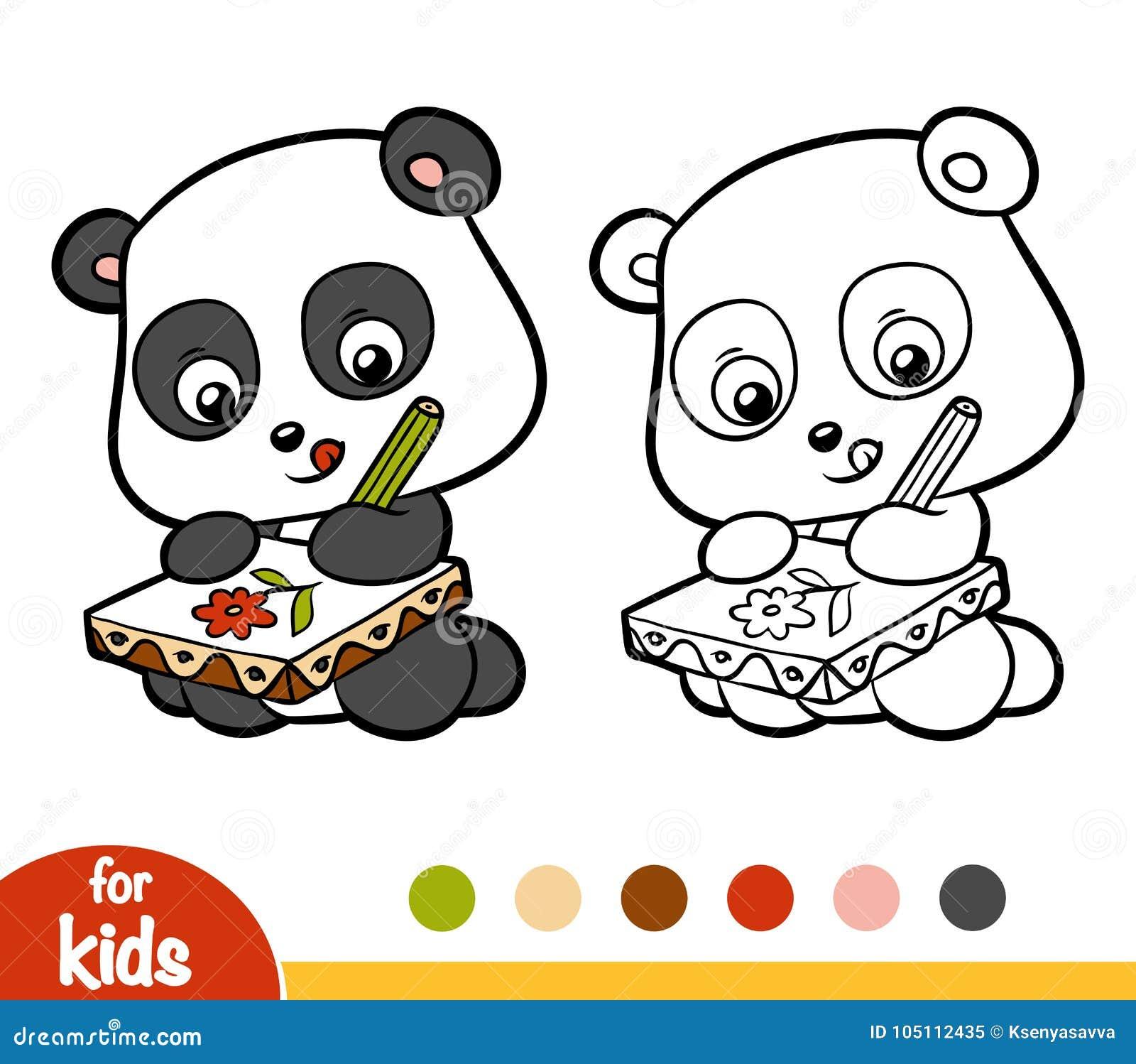 книжка раскраска художник панды иллюстрация вектора