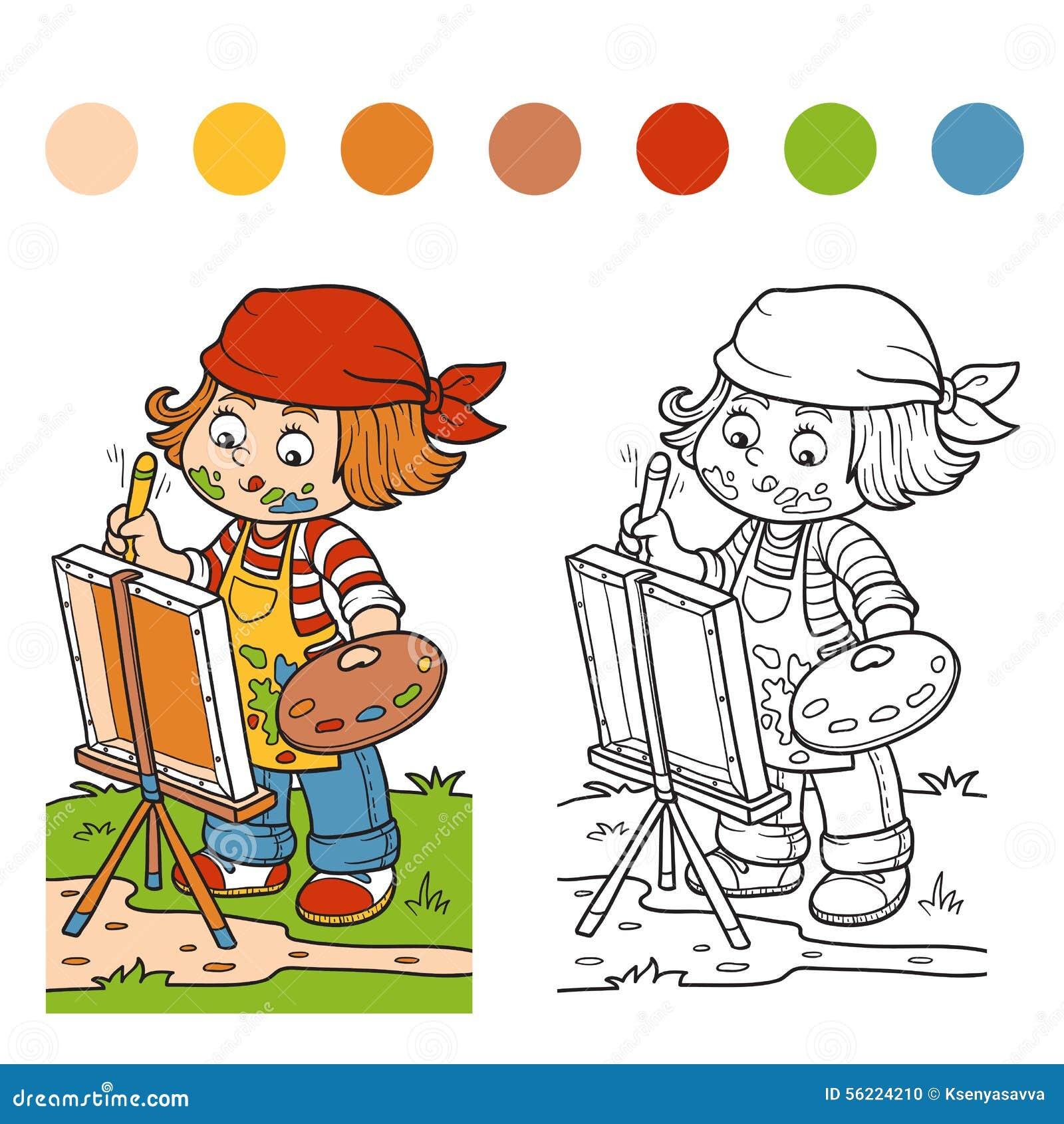 книжка раскраска художник девушки рисует на природе под
