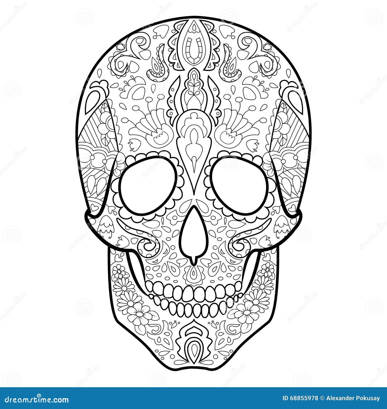 книжка раскраска черепа для вектора взрослых иллюстрация