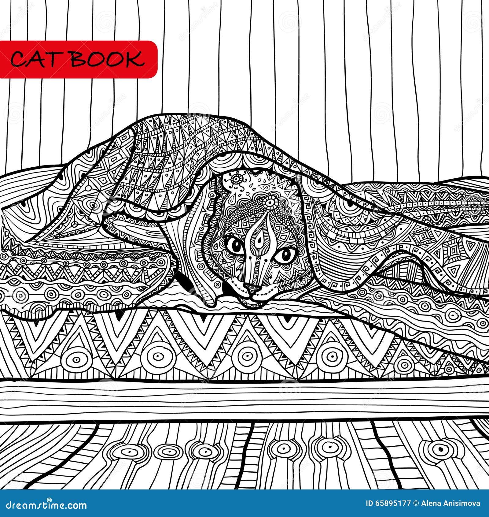 книжка раскраска для взрослых книга кота Zentangle кот на