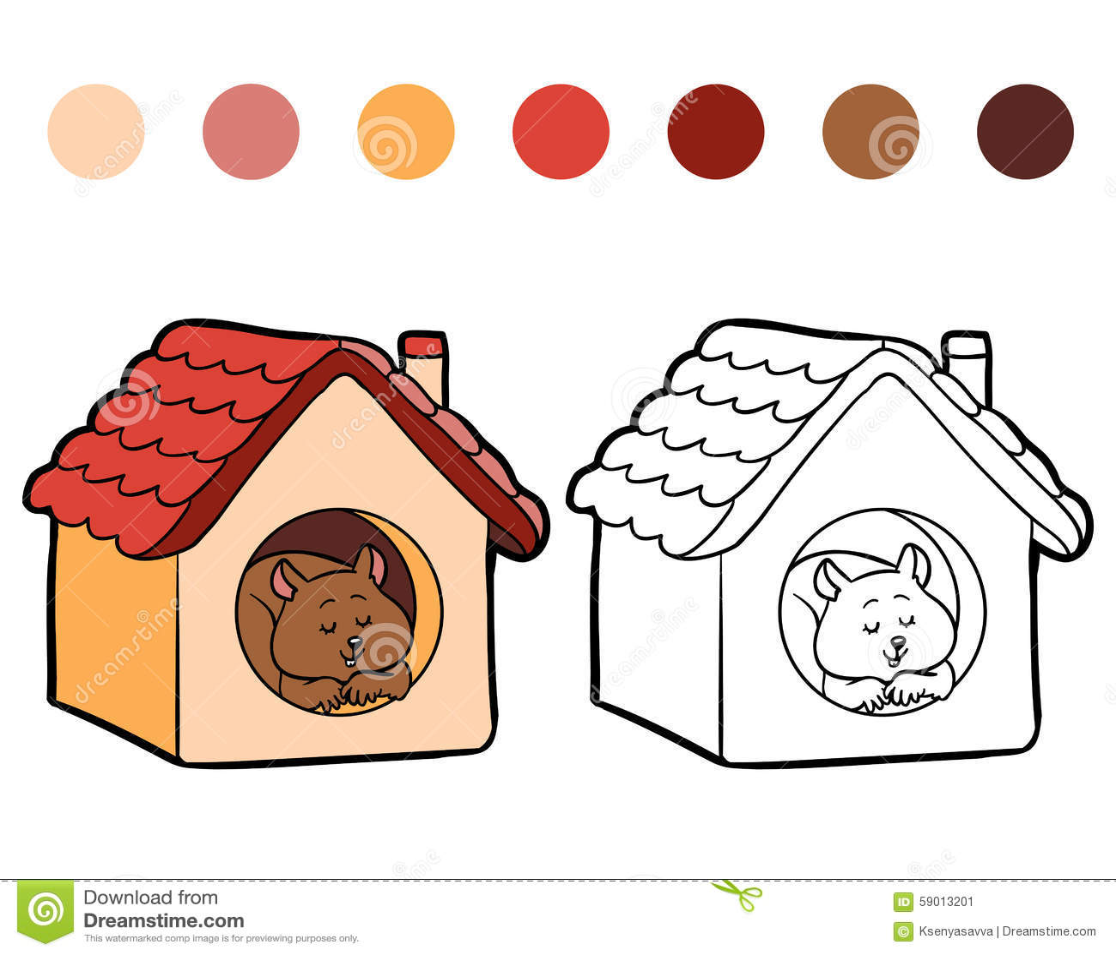 Книжка-раскраска для детей: хомяк и дом Иллюстрация ...