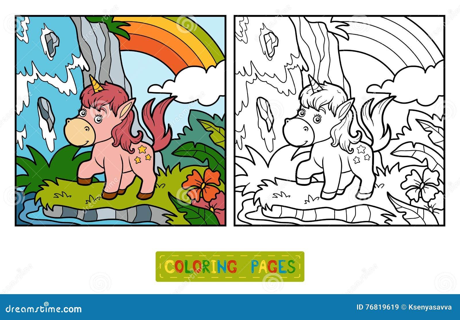 Книжка-раскраска, Fairy единорог и радуга Иллюстрация ...