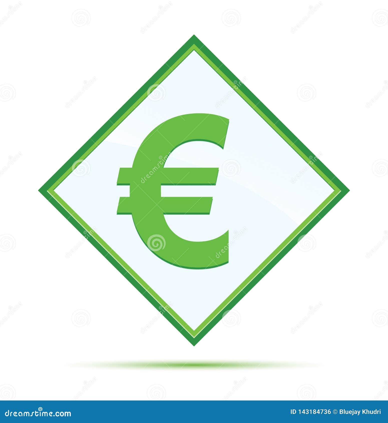 Кнопка диаманта значка знака евро современная абстрактная зеленая