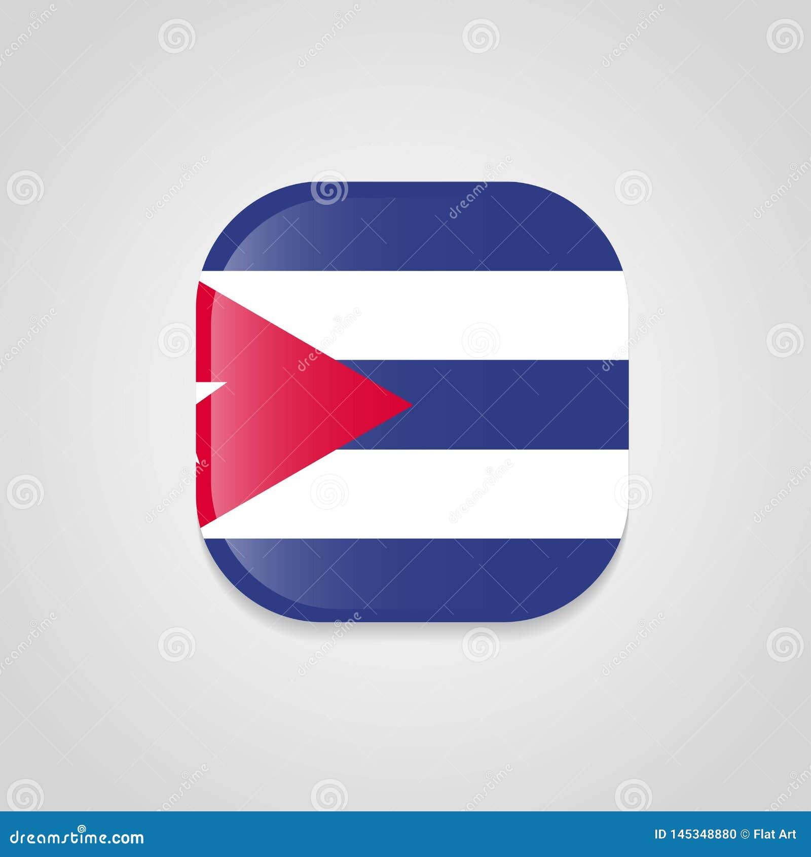 Кнопка дизайна флага Кубы круглая