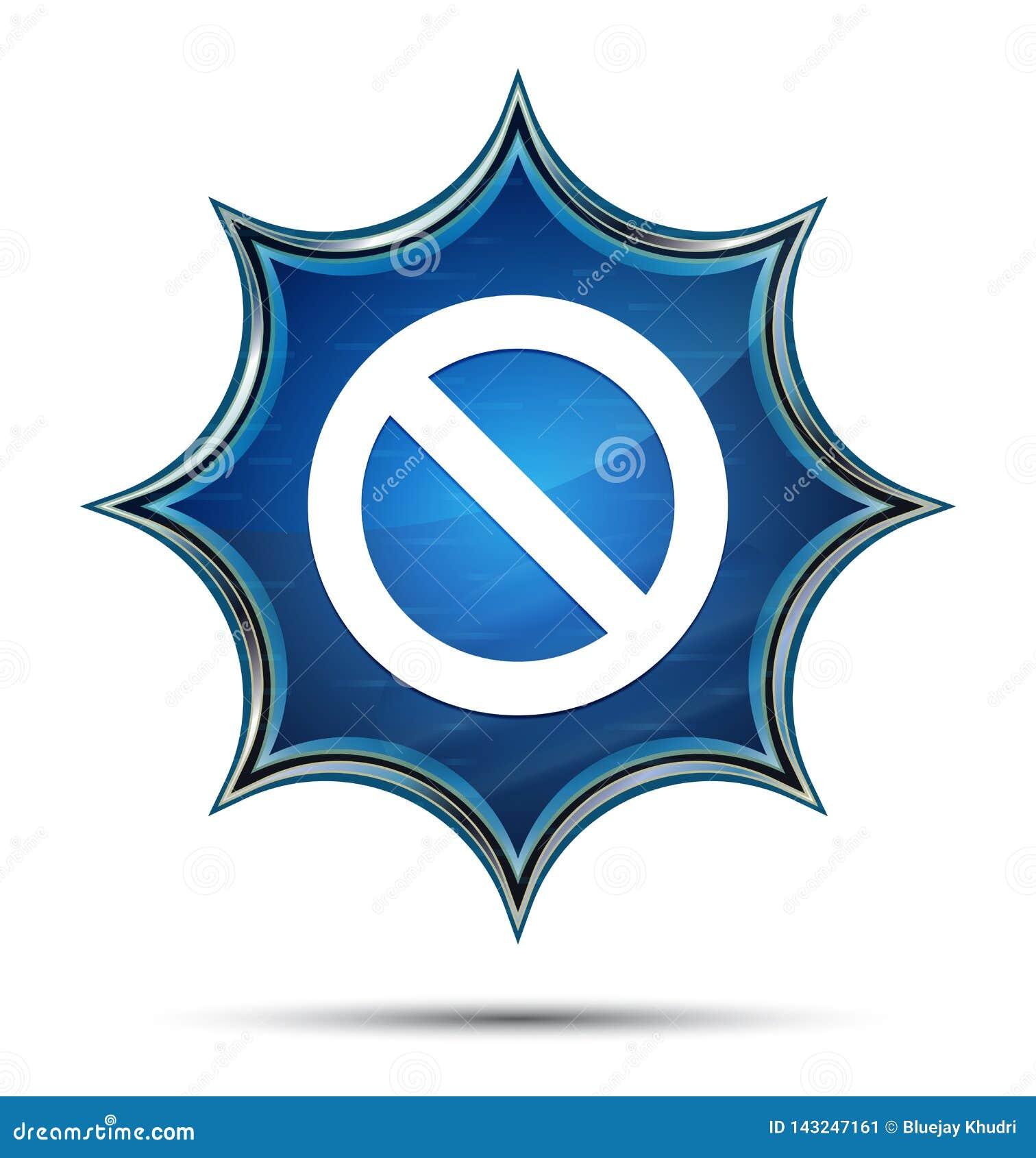 Кнопка значка запрета волшебная стекловидная sunburst голубая