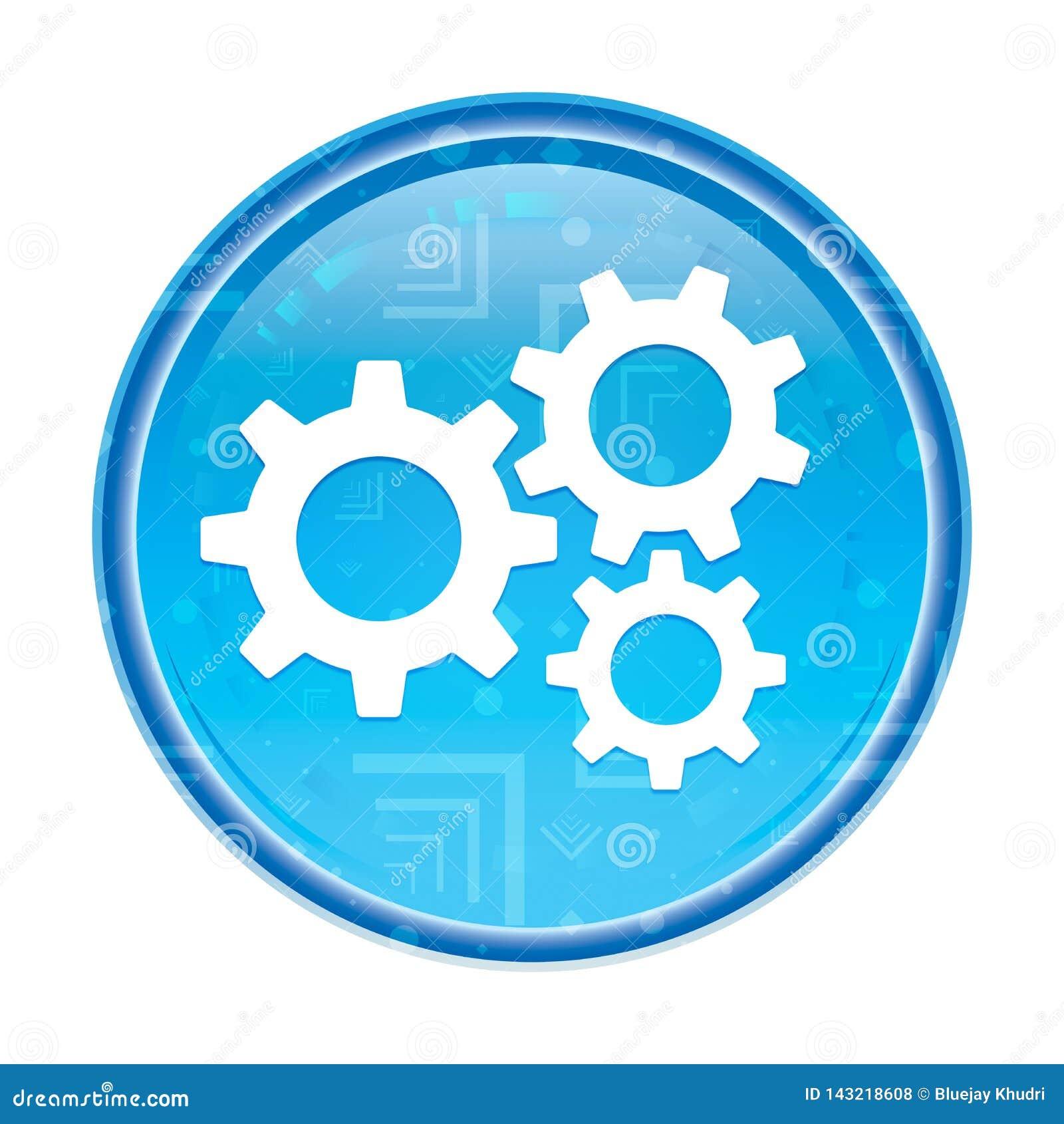Кнопка значка шестерней установок флористическая голубая круглая