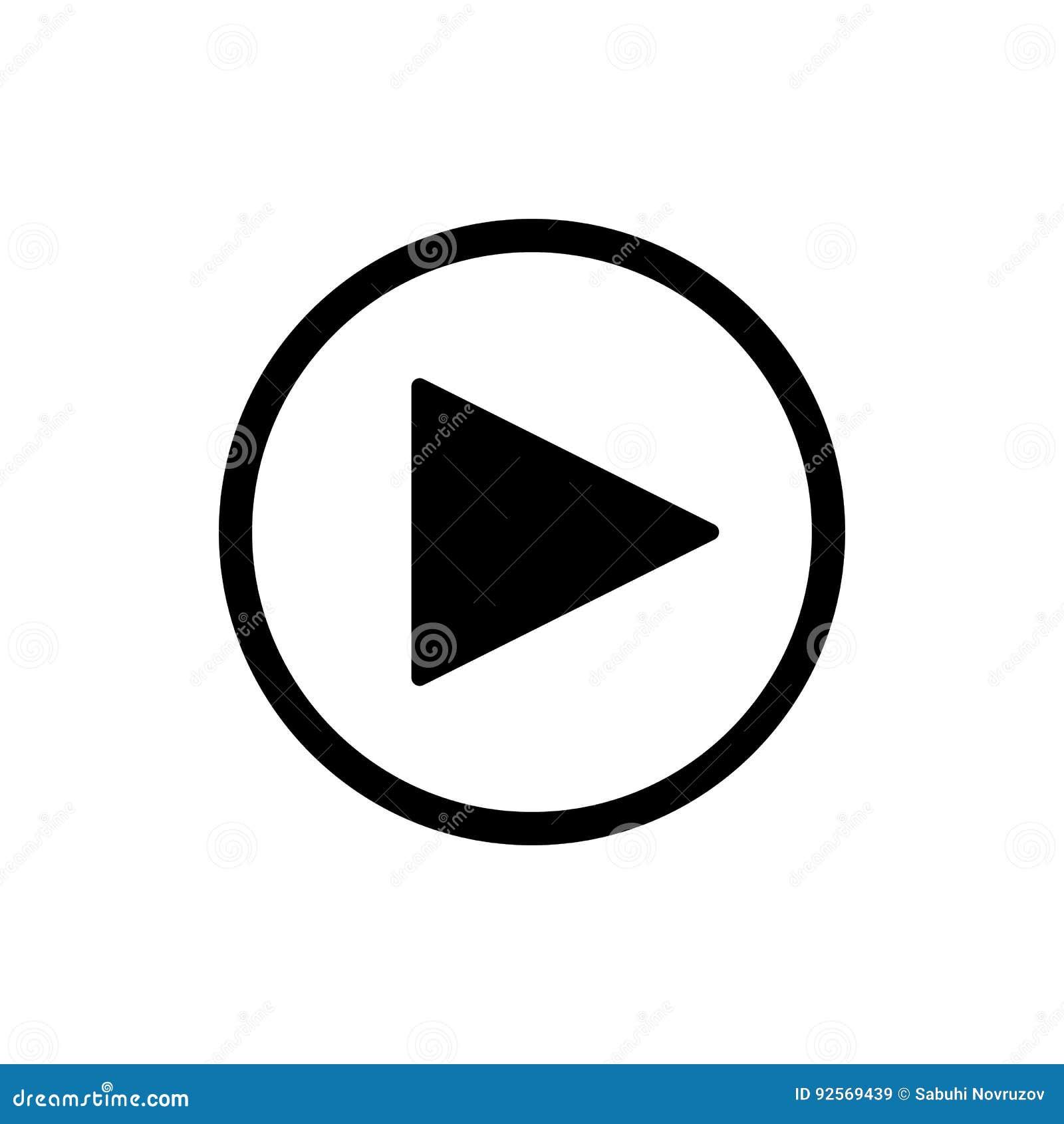 Кнопка игры vector значок в линейном стиле изолированный на белизне Тональнозвуковой или видео- значок