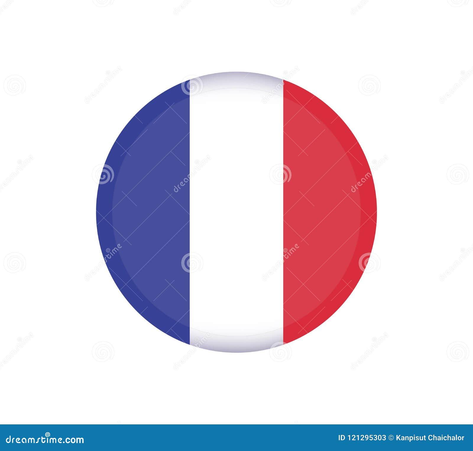 Кнопка флага ФРАНЦИИ Значок вектора флага Франции круглый - иллюстрация