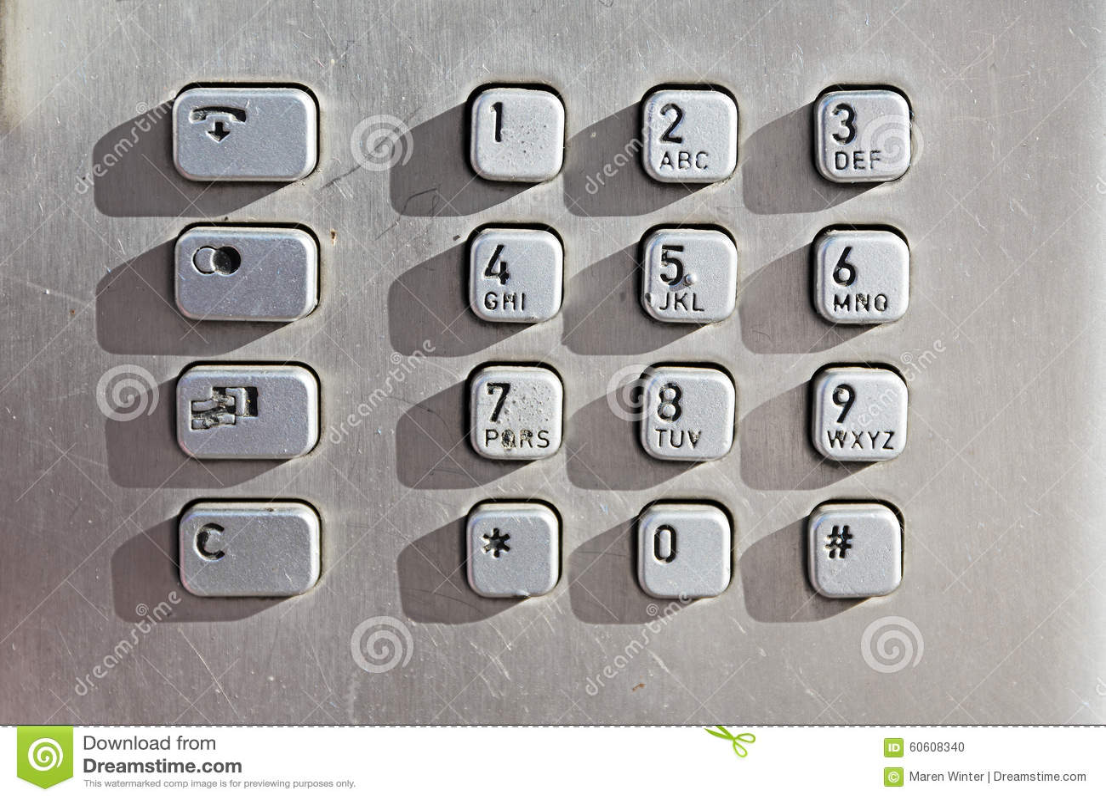 Кнопки кнопочной панели на общественном телефоне