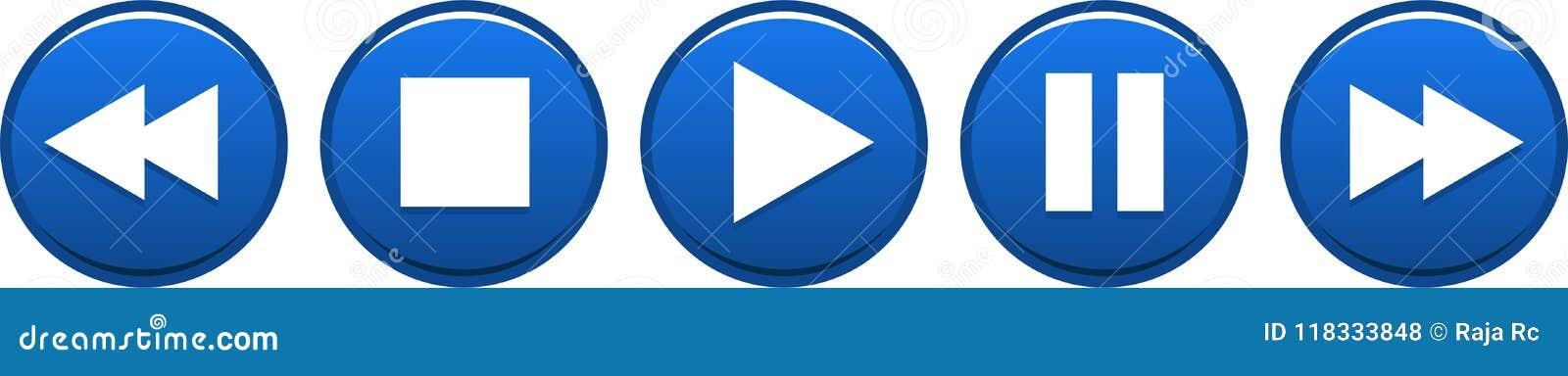 Кнопки паузы стопа игры голубые