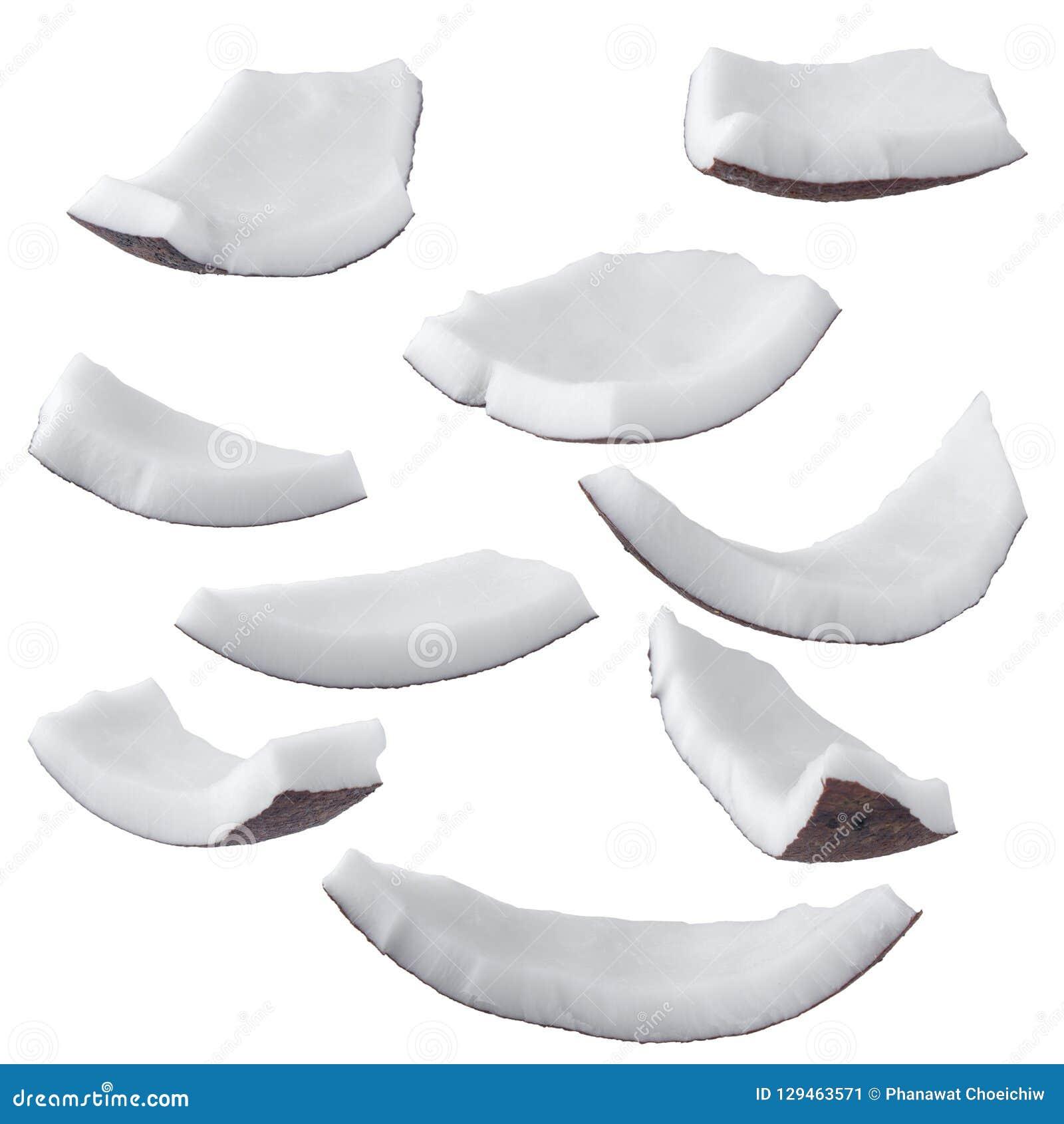 Кокосы изолированные на белом пути клиппирования предпосылки