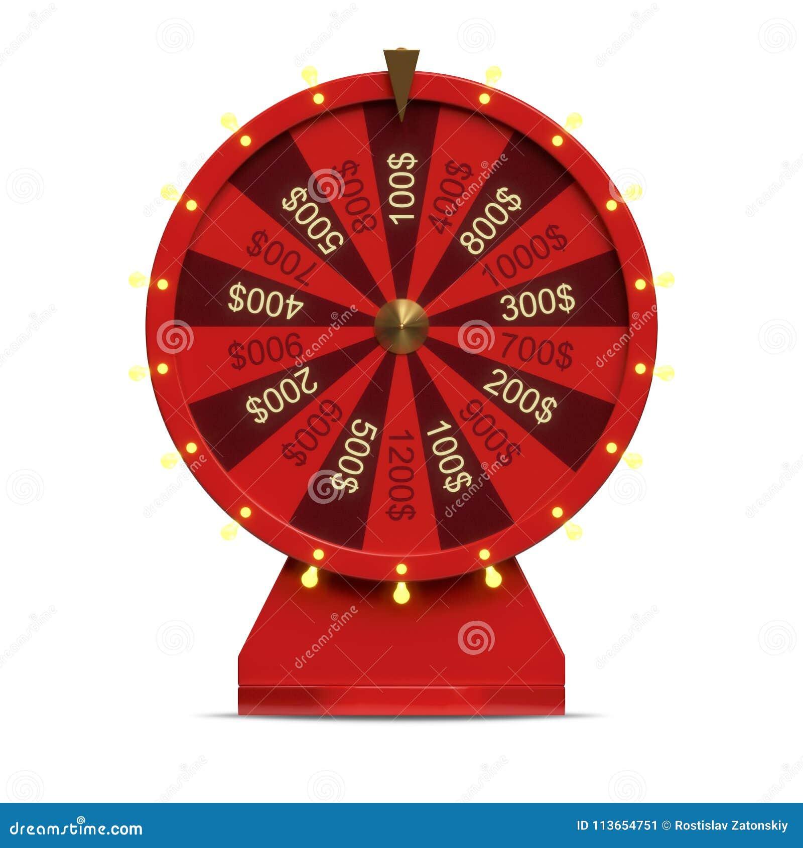 колесо иллюстрации 3d красное везения или удачи Реалистическое закручивая колесо удачи Удача колеса изолированная на белизне