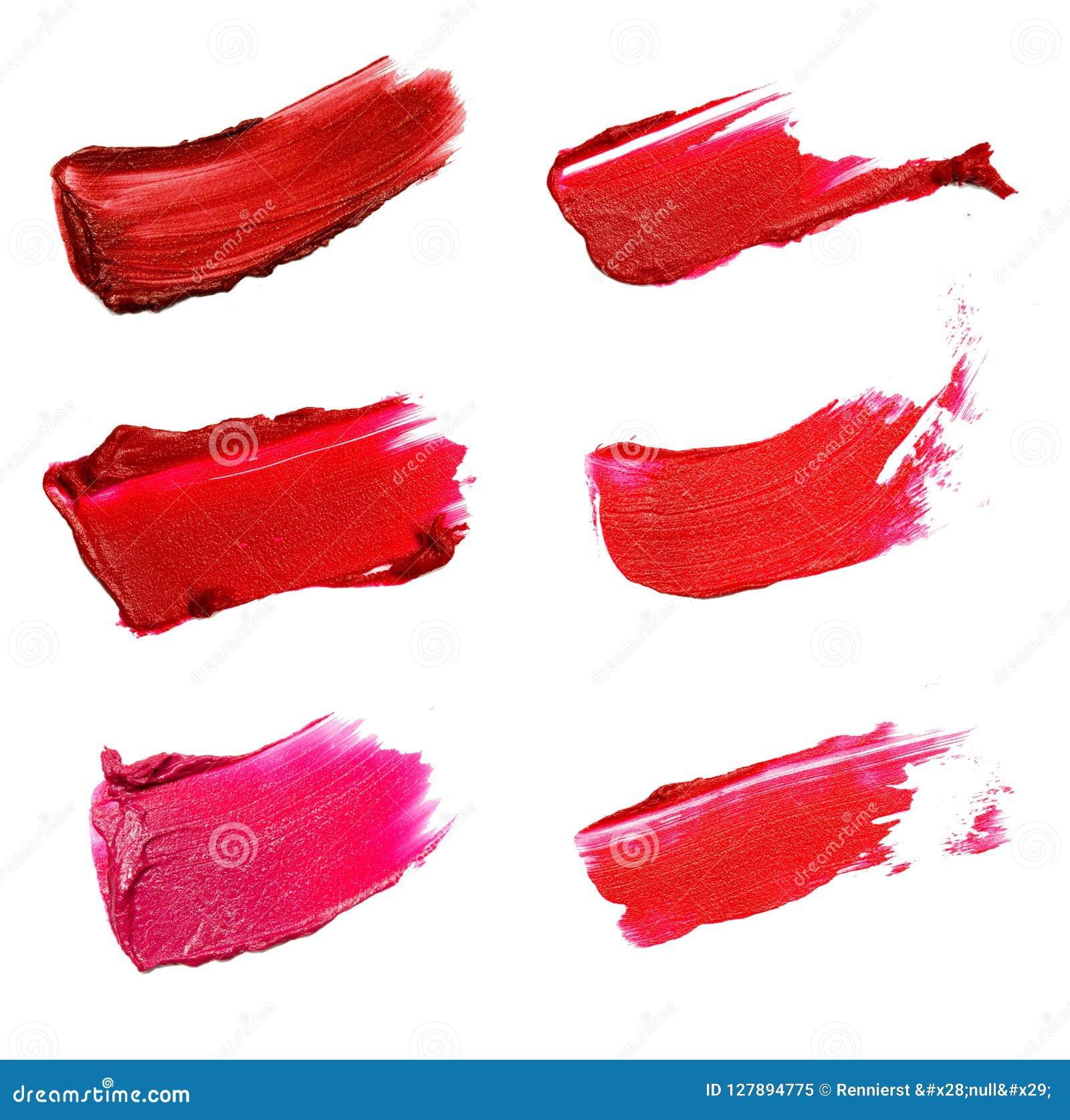 Коллаж декоративных ходов губной помады щетки цвета косметик дальше