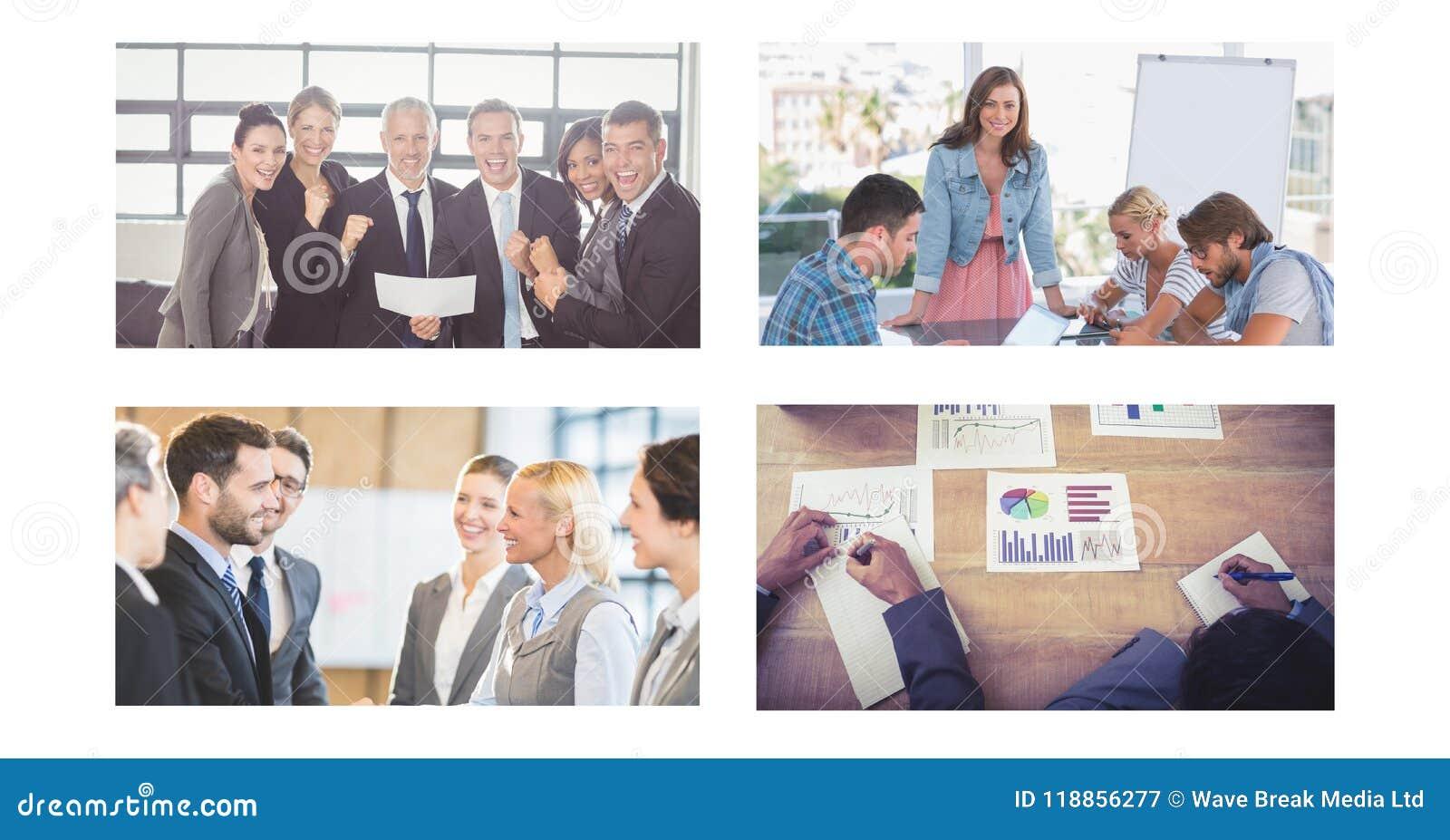 Коллаж деловой встречи сыгранности