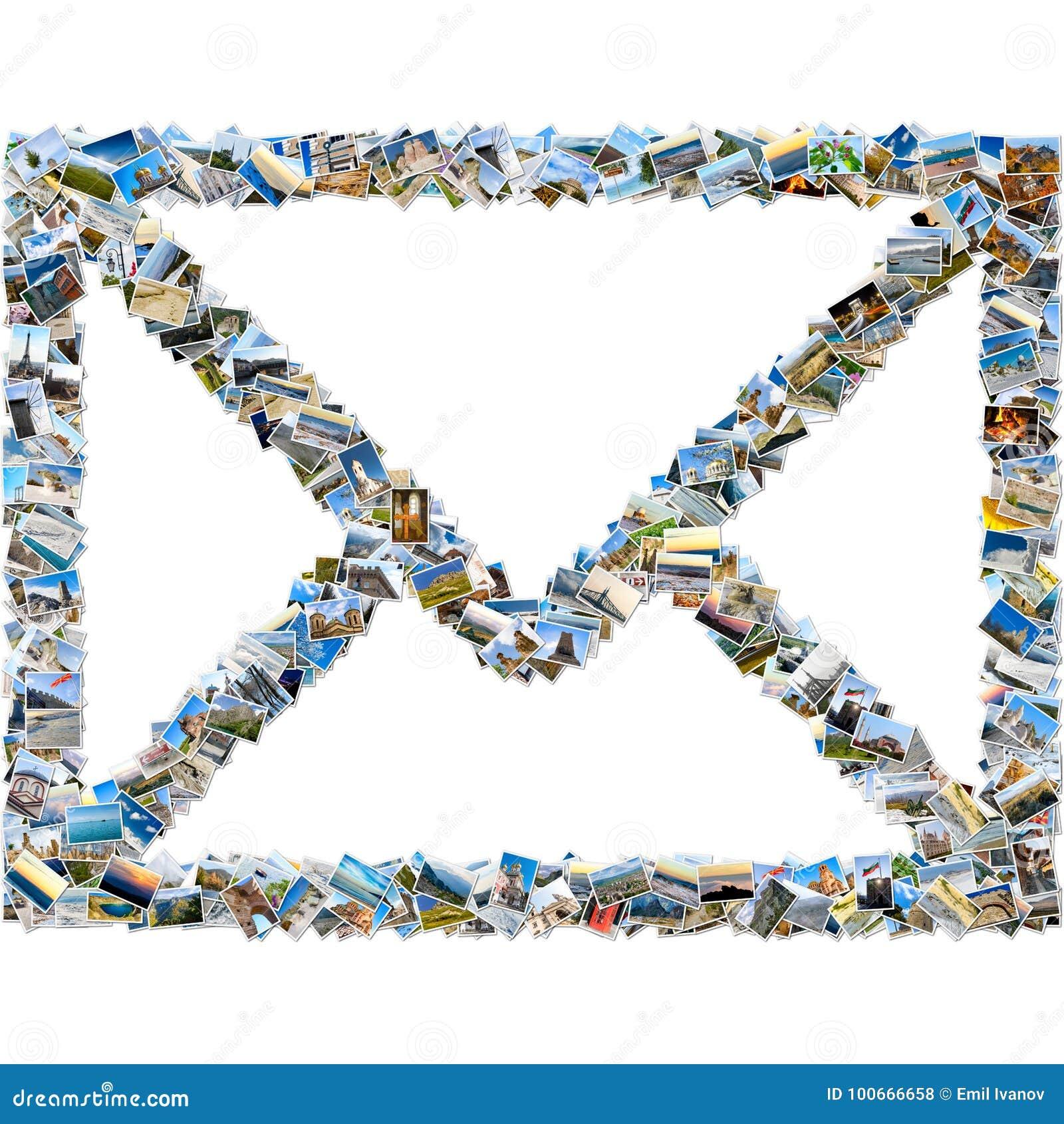 Коллаж изображений перемещения - конверт почты