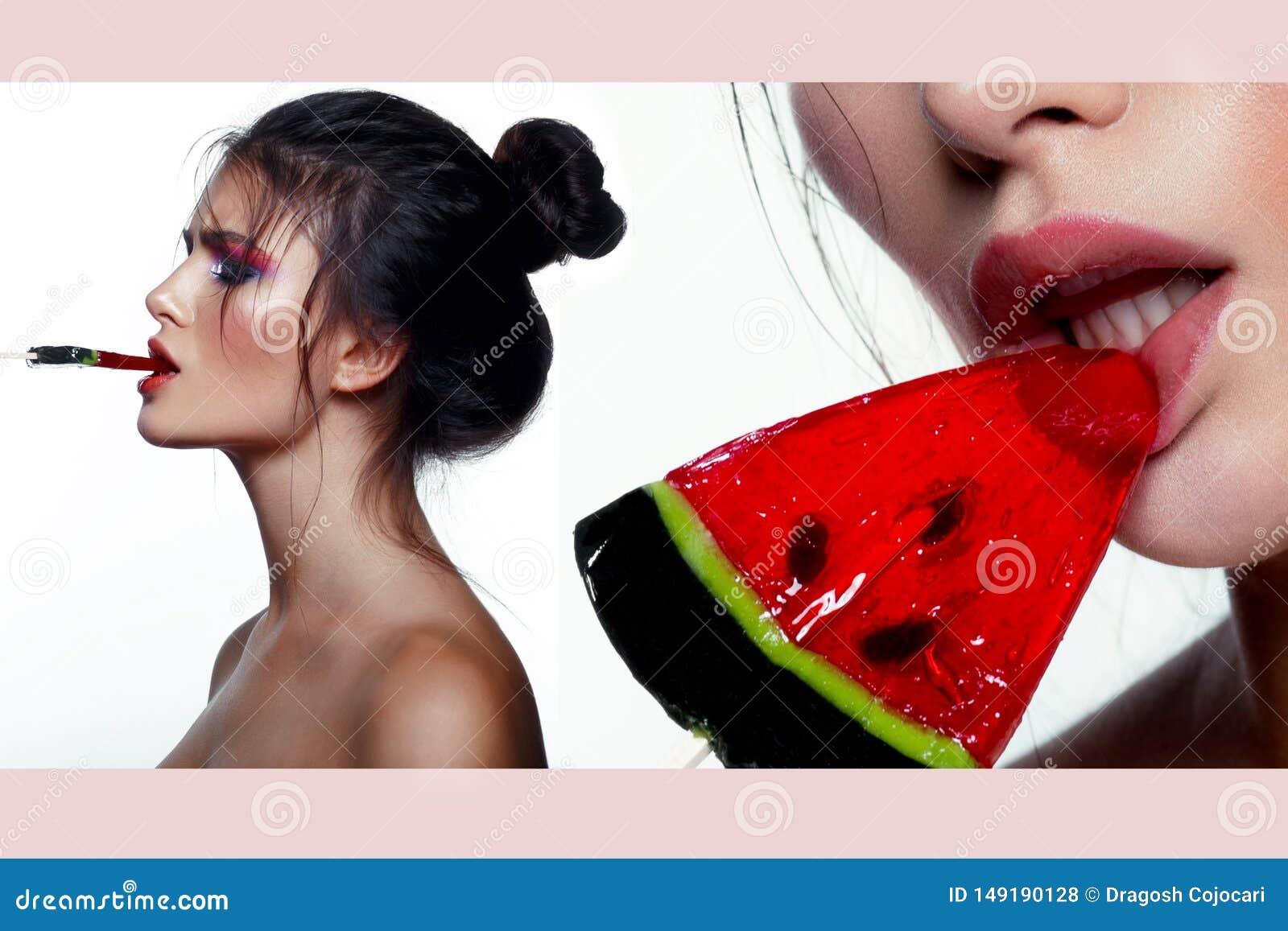 Коллаж изображения красоты Представлять молодой женщины брюнета чувственный с леденцом на палочке, большой губой, составляет худо