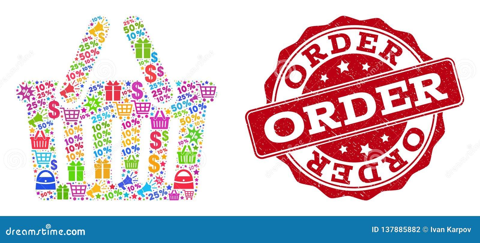 Коллаж корзины для товаров мозаики и текстурированное уплотнение для продаж