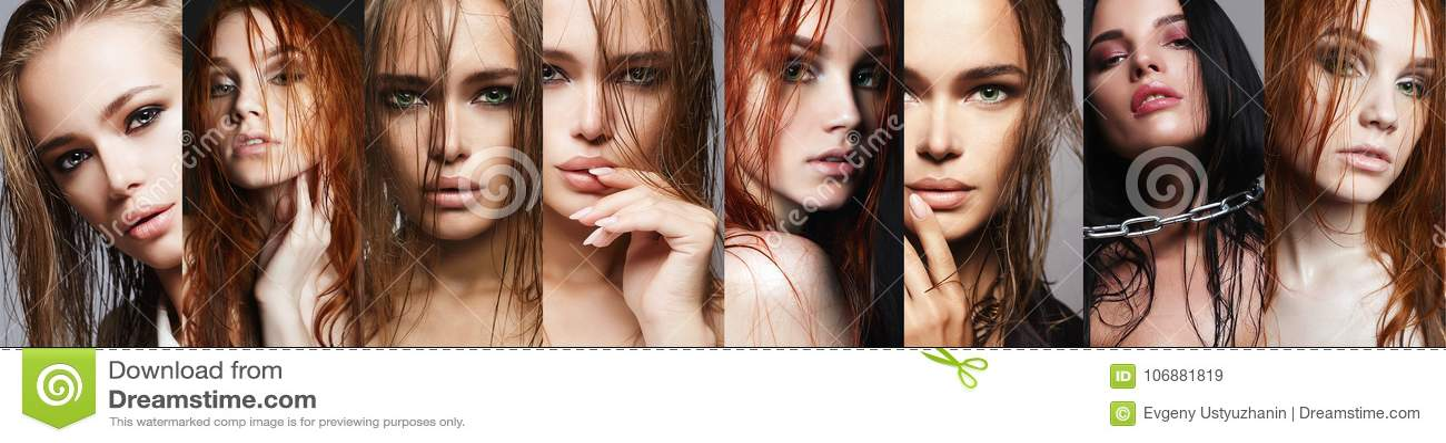 Коллаж красоты женщин с влажными волосами