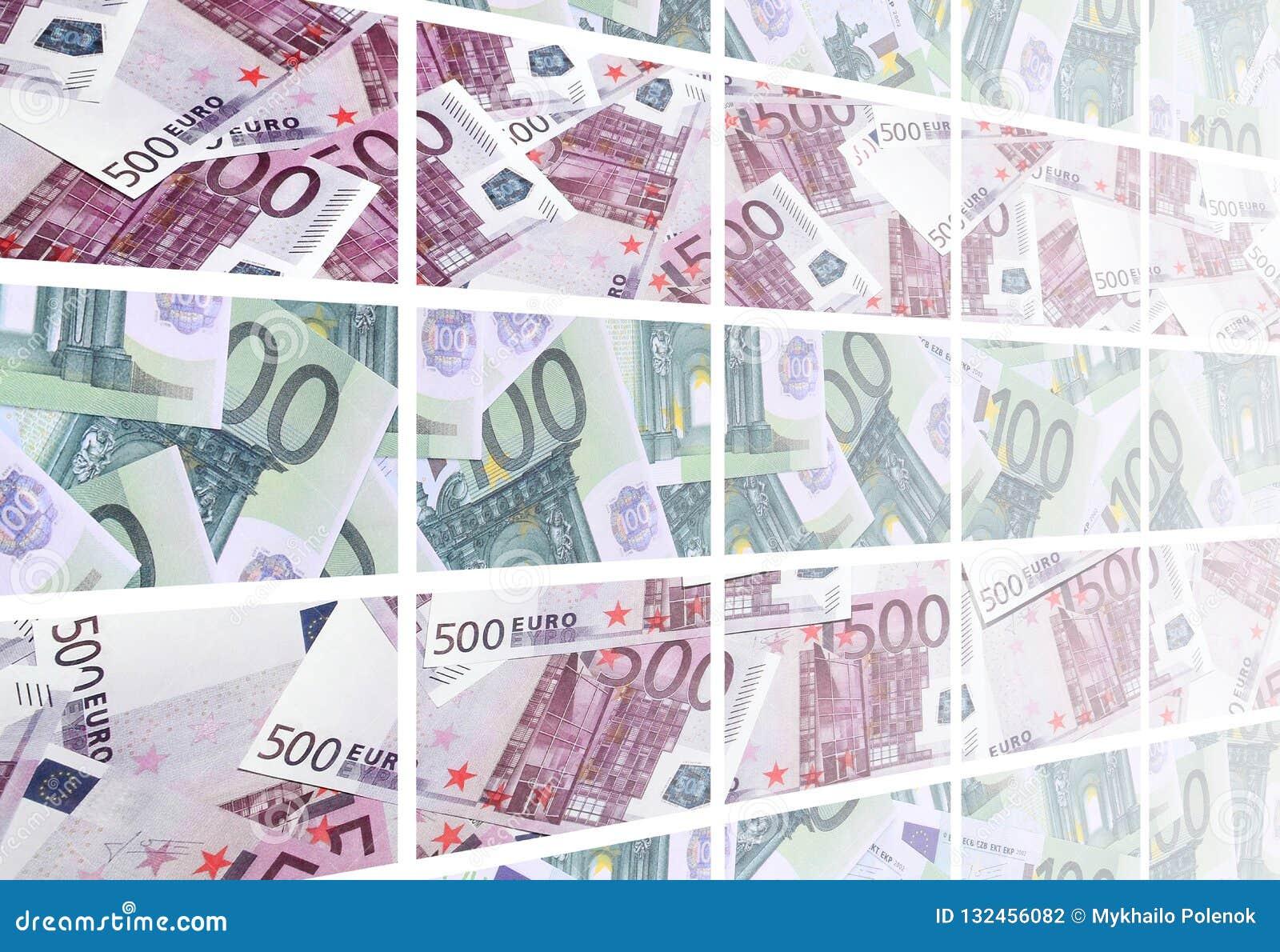 Коллаж много изображений сотен долларов и счетов l евро