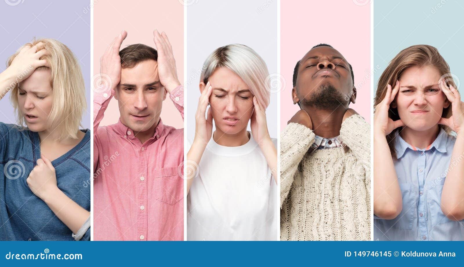 Коллаж молодых людей и женщин страдая от строгой головной боли