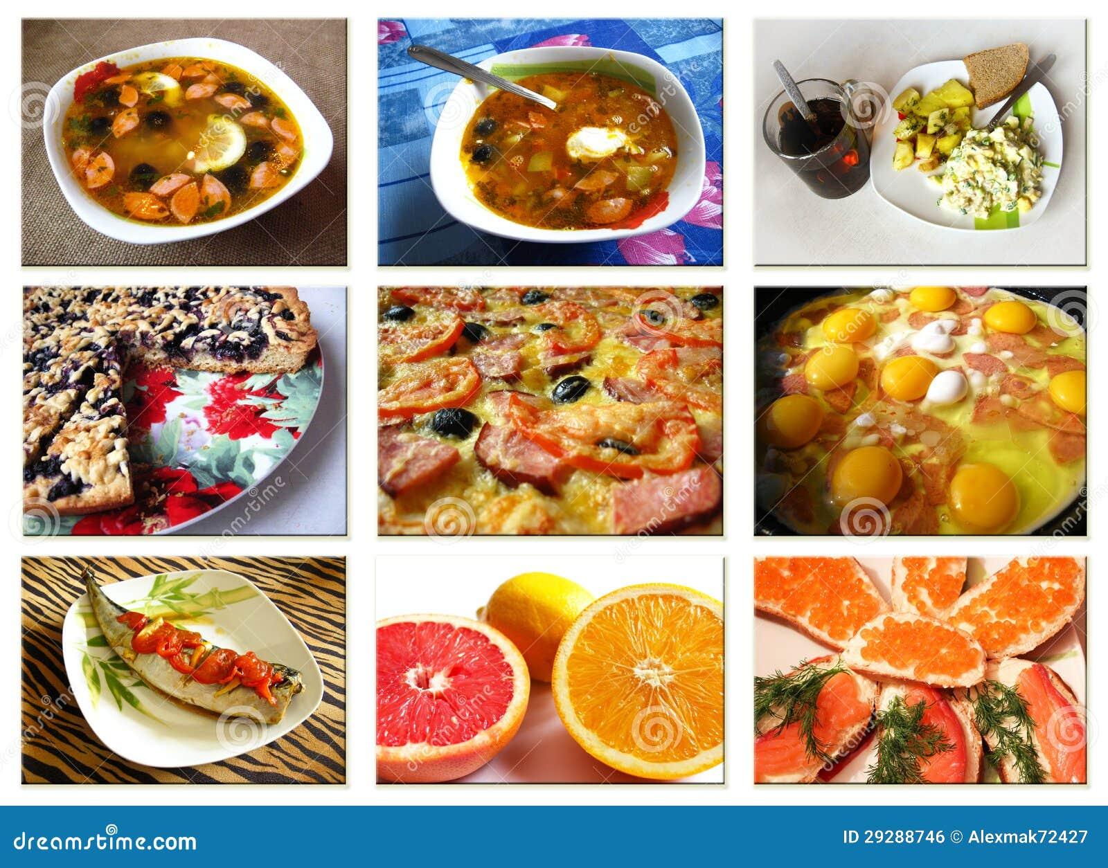 Коллаж от фото различных тарелок
