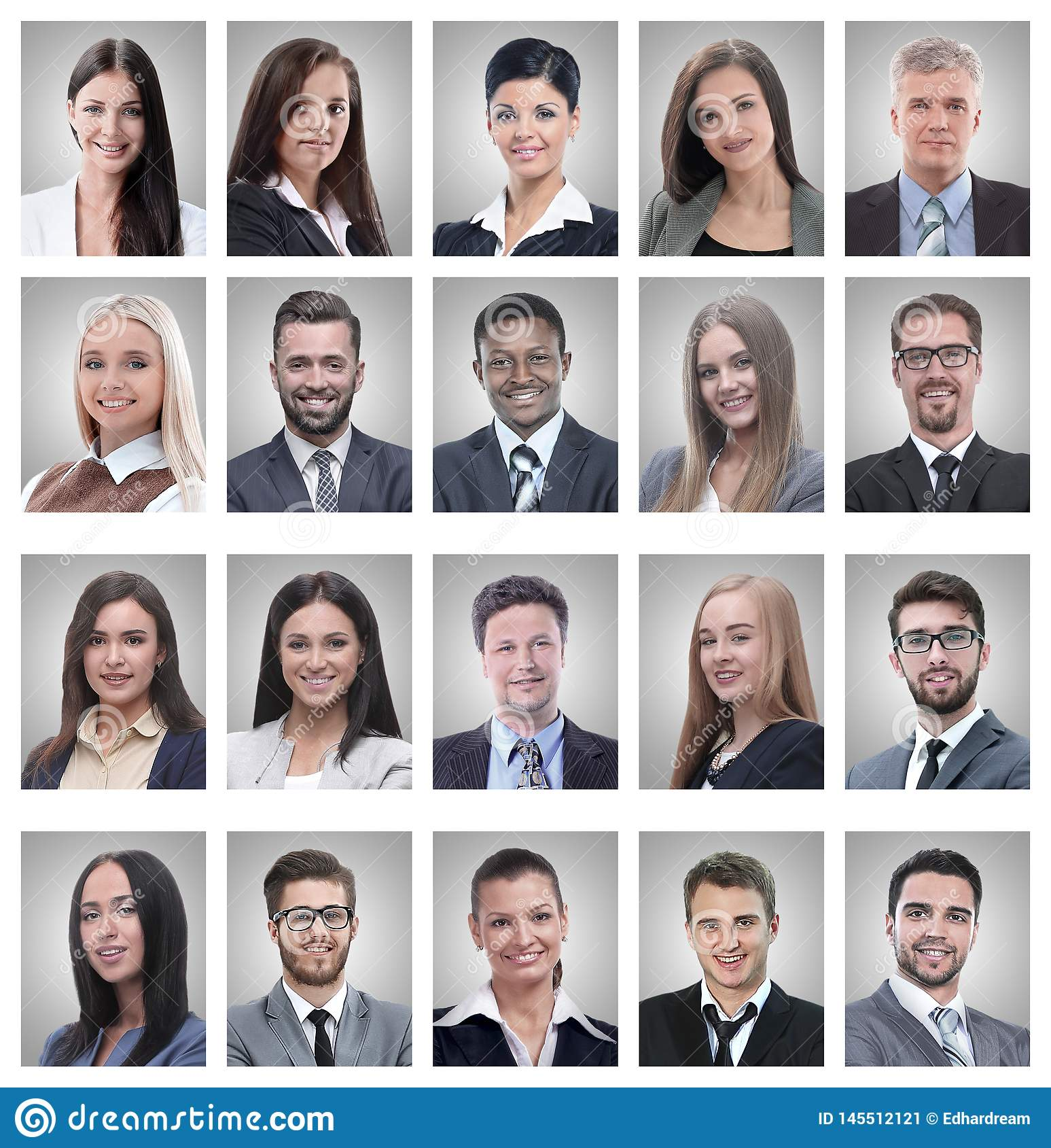 Коллаж портретов успешных молодых бизнесменов