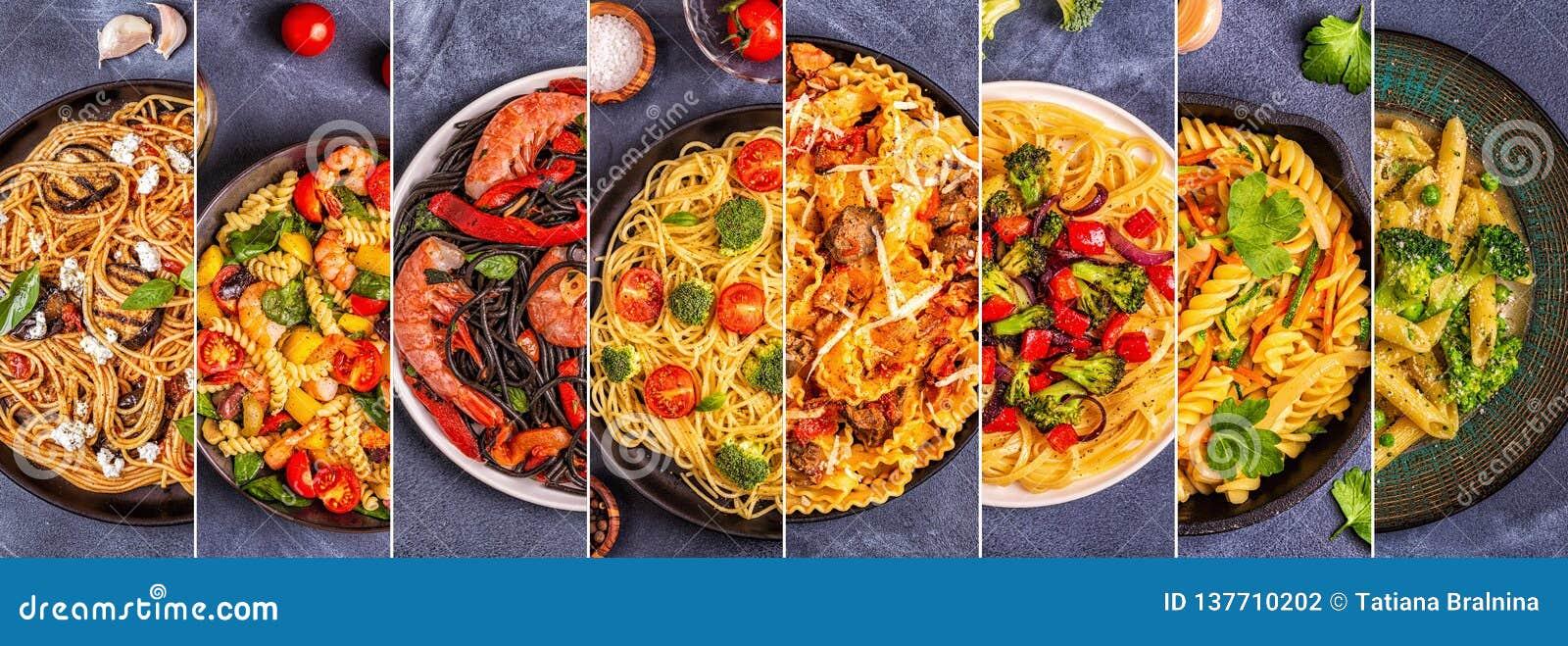 Коллаж различных блюд макаронных изделий