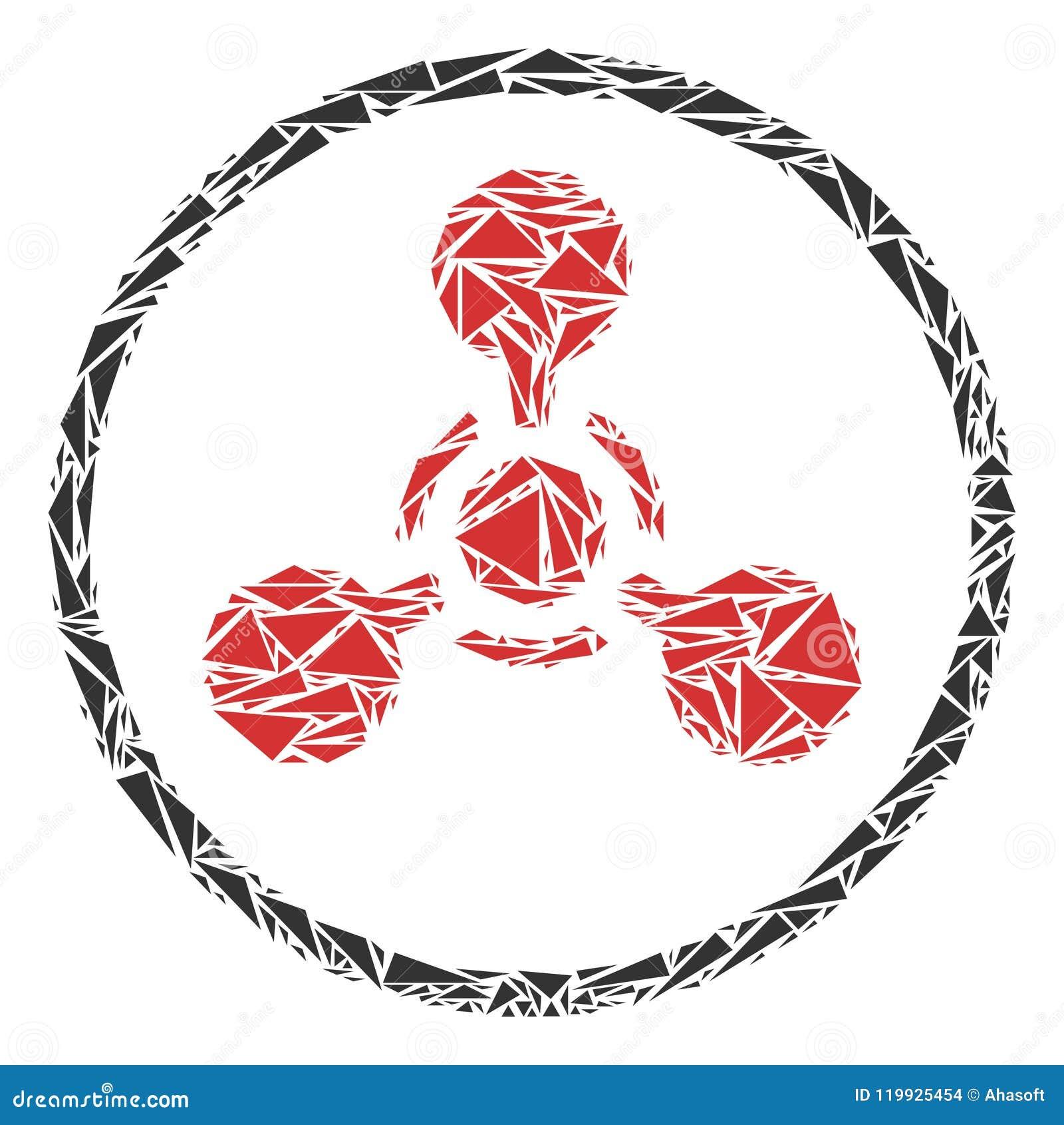 Коллаж химической войны агента нервно-паралитического действия WMD треугольников
