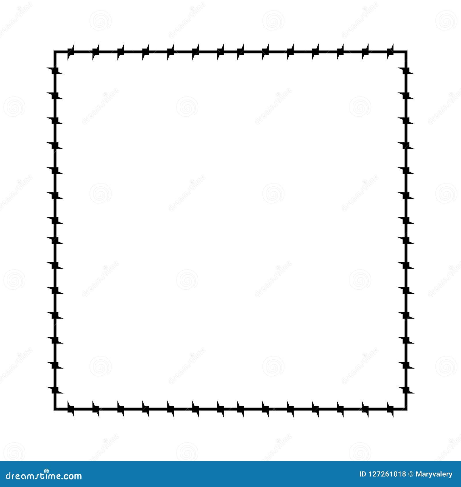 колючий провод рамки Граница тюрьмы кадра колючки также вектор иллюстрации притяжки corel