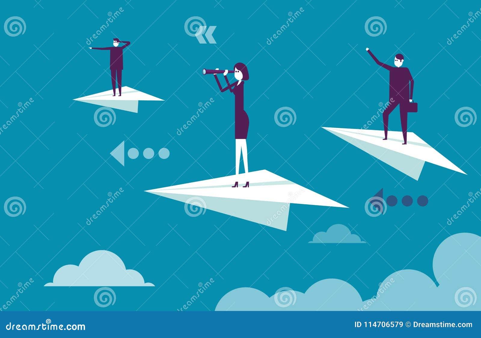 Команда дела стоя на бумажных самолетах Иллюстрация b вектора