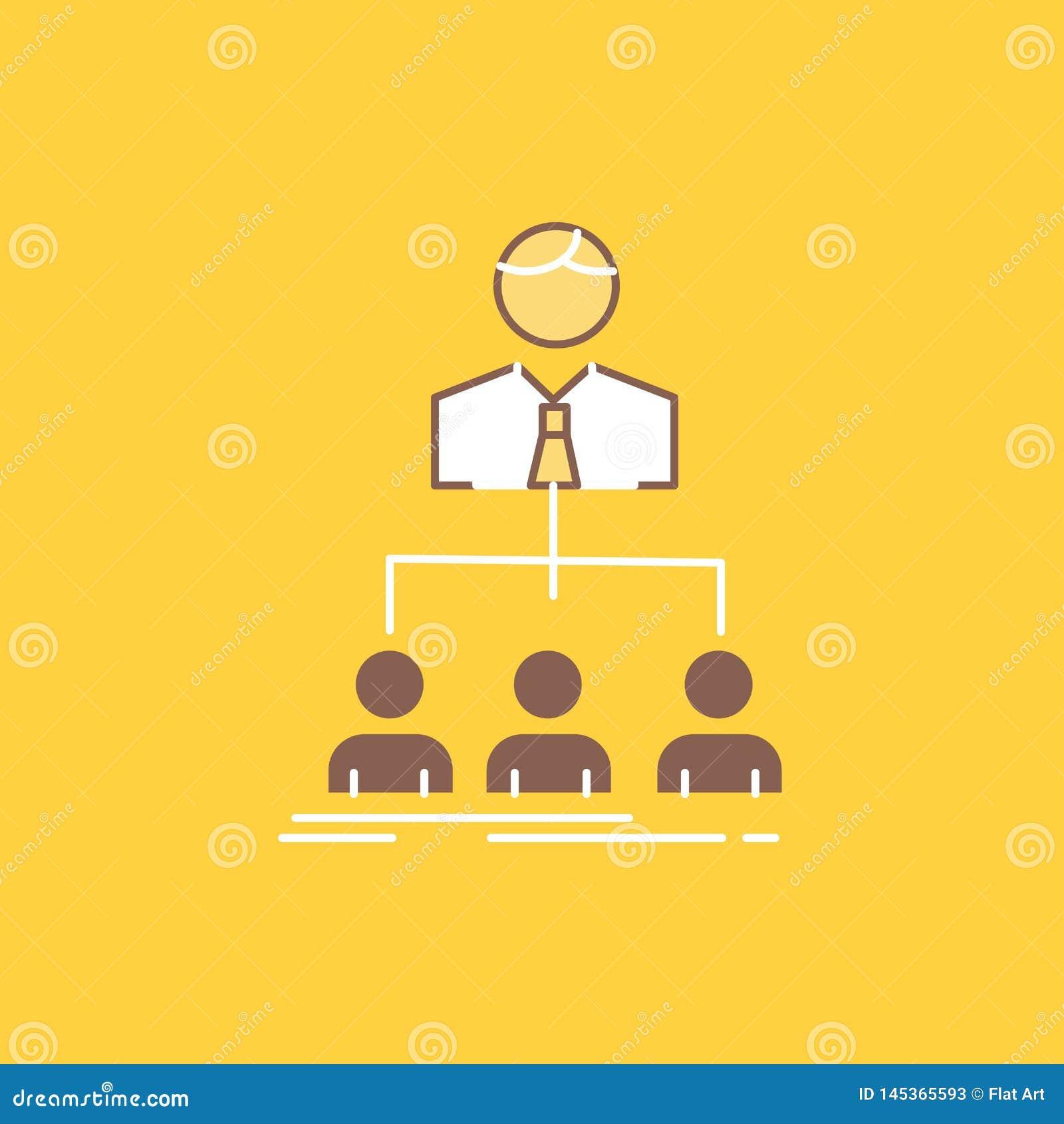 команда, сыгранность, организация, группа, линия компании плоская заполнила значок Красивая кнопка логотипа над желтой предпосылк