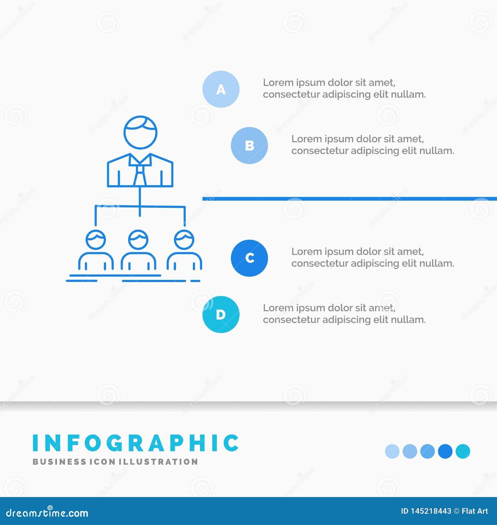 команда, сыгранность, организация, группа, шаблон Infographics компании для вебсайта и представление Линия стиль голубого значка