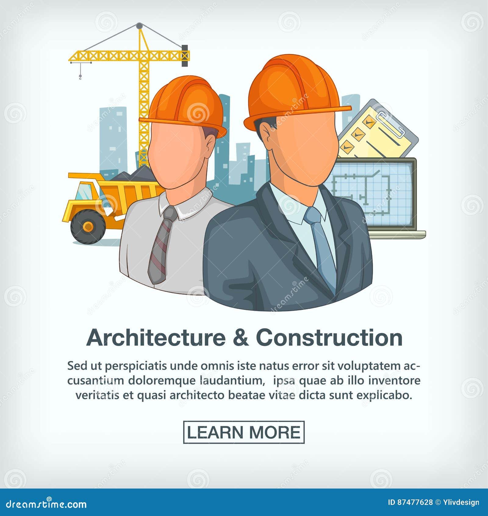 Команда концепции строительного процесса, стиль шаржа