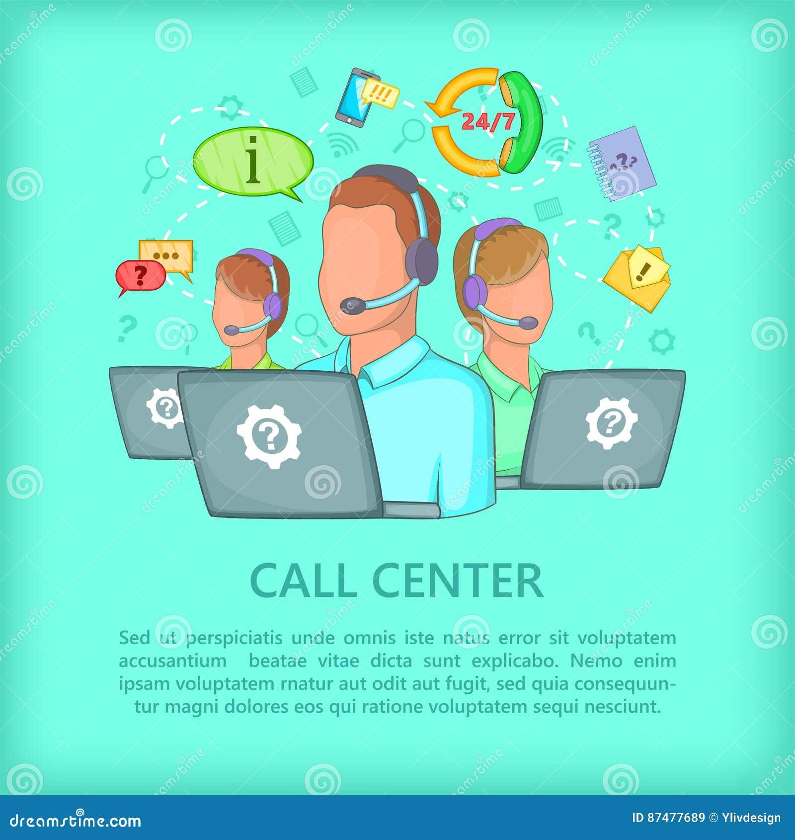 Команда концепции центра телефонного обслуживания, стиль шаржа