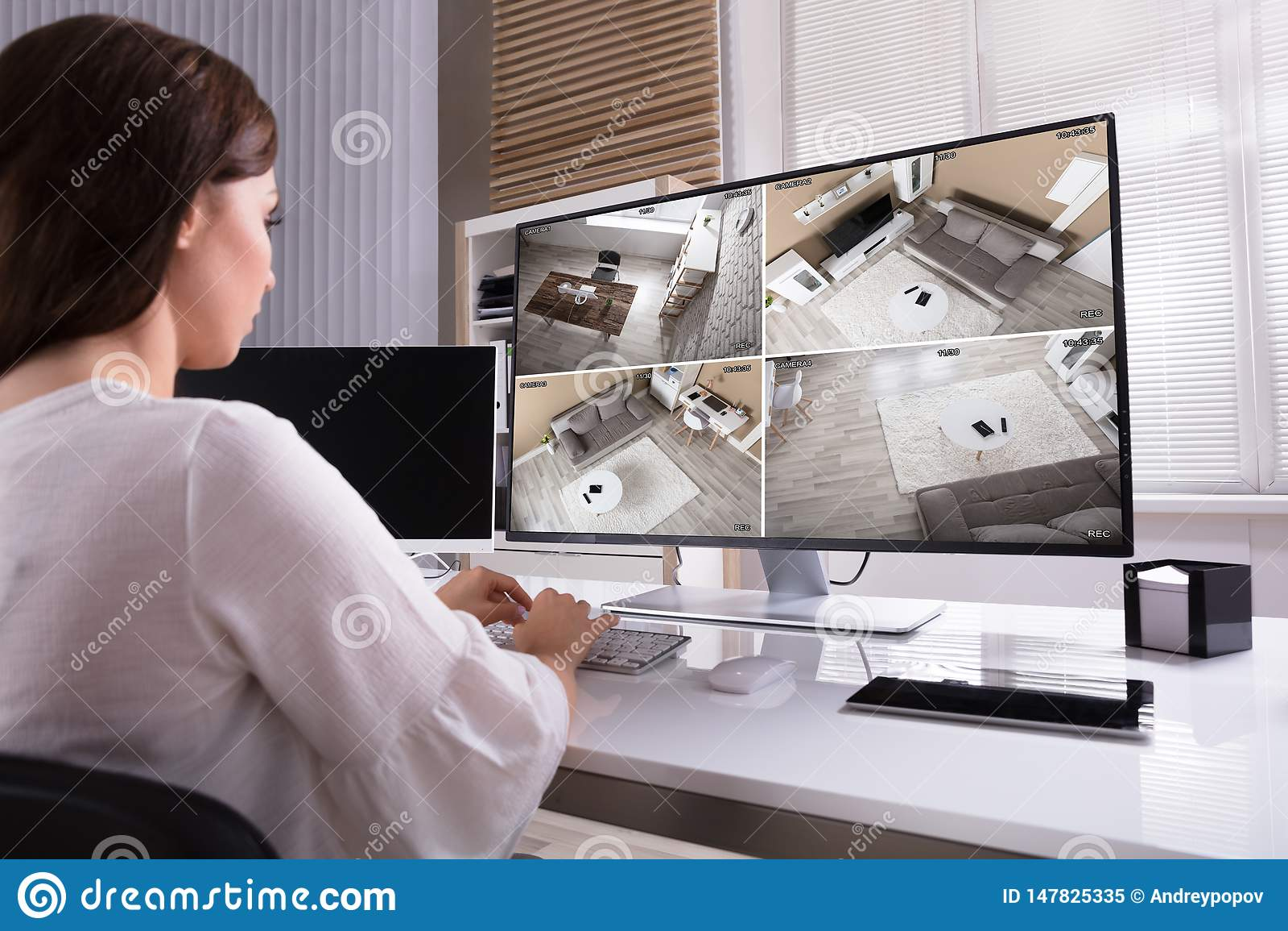 Коммерсантка контролируя отснятый видеоматериал CCTV на компьютере