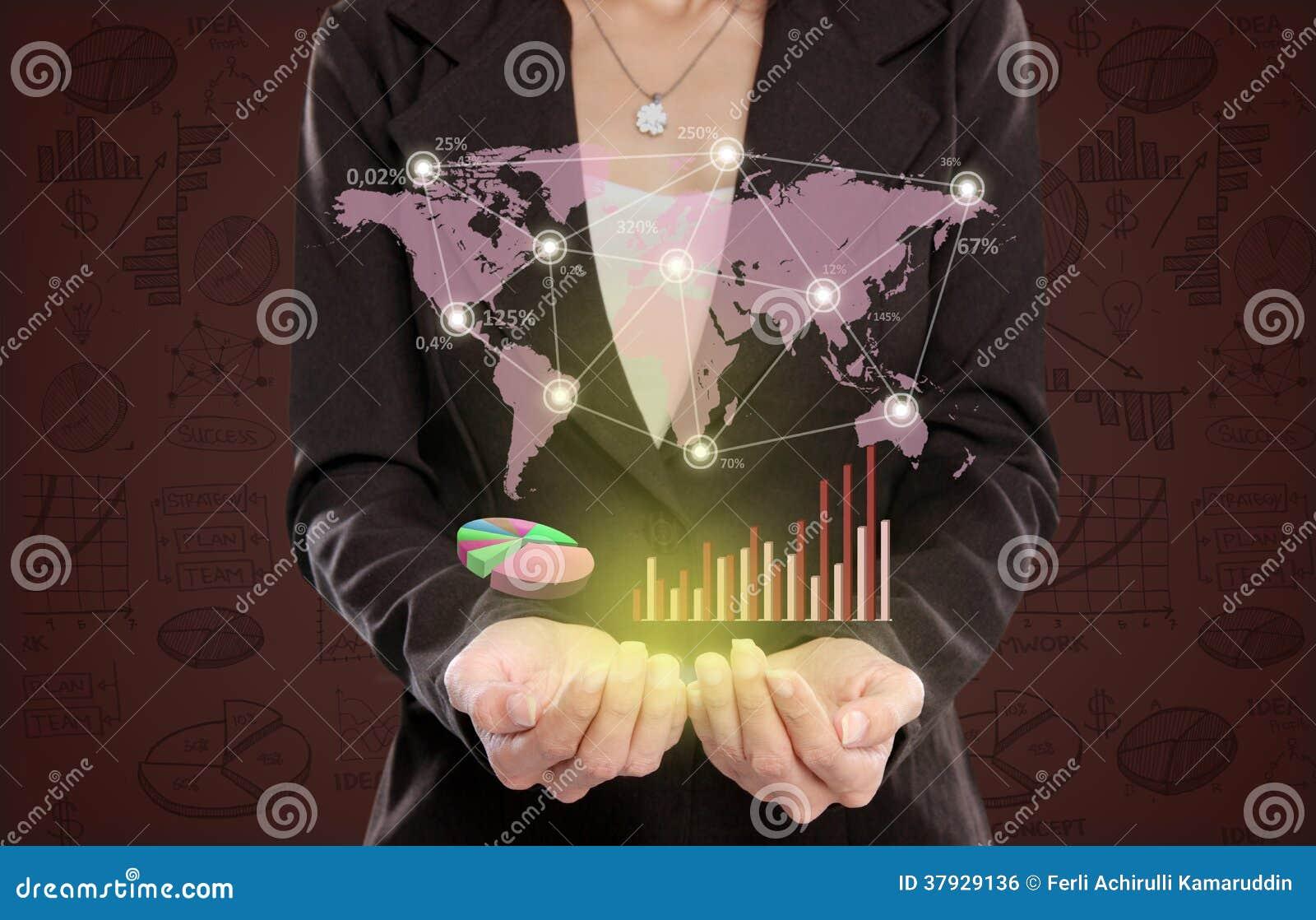 Коммерсантка показывая концепцию деловых связей