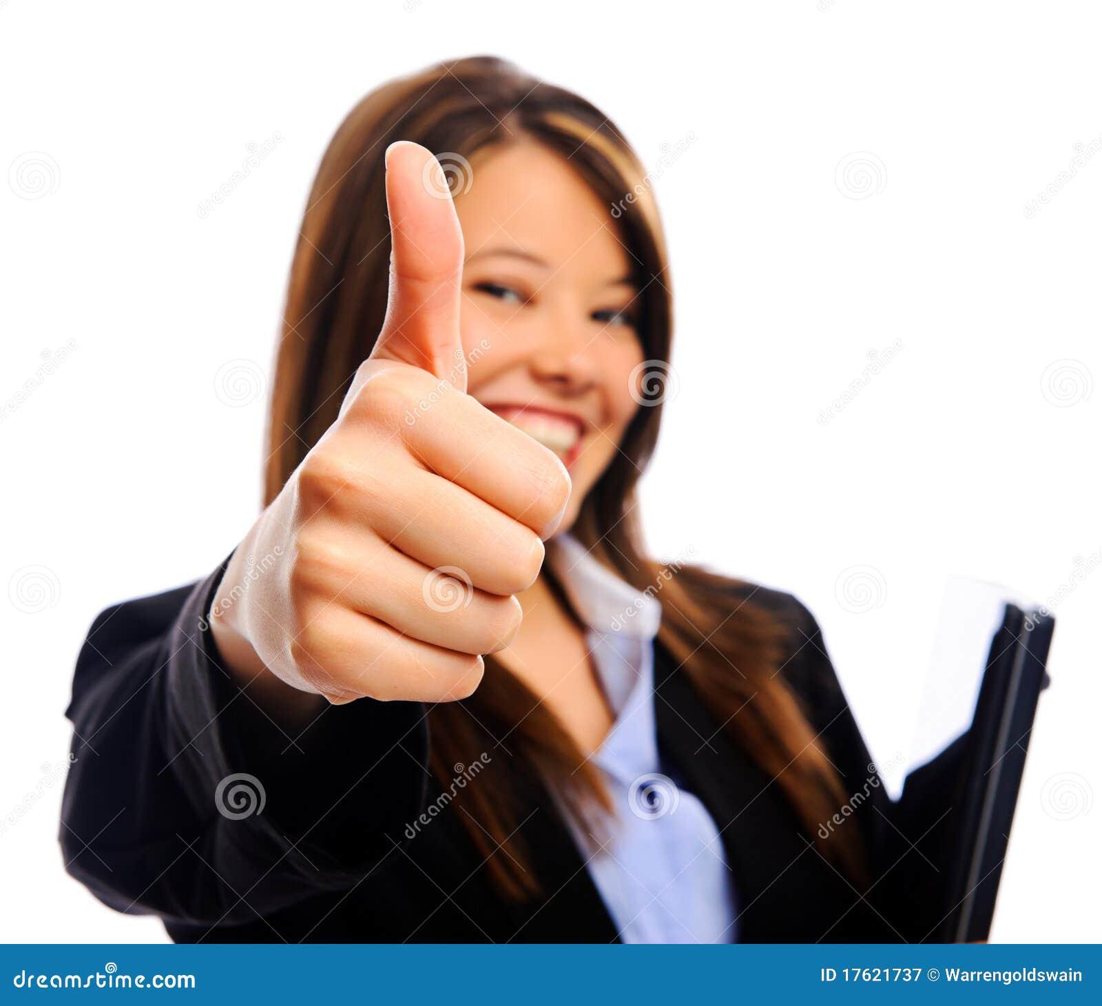 Коммерсантка с большими пальцами руки вверх
