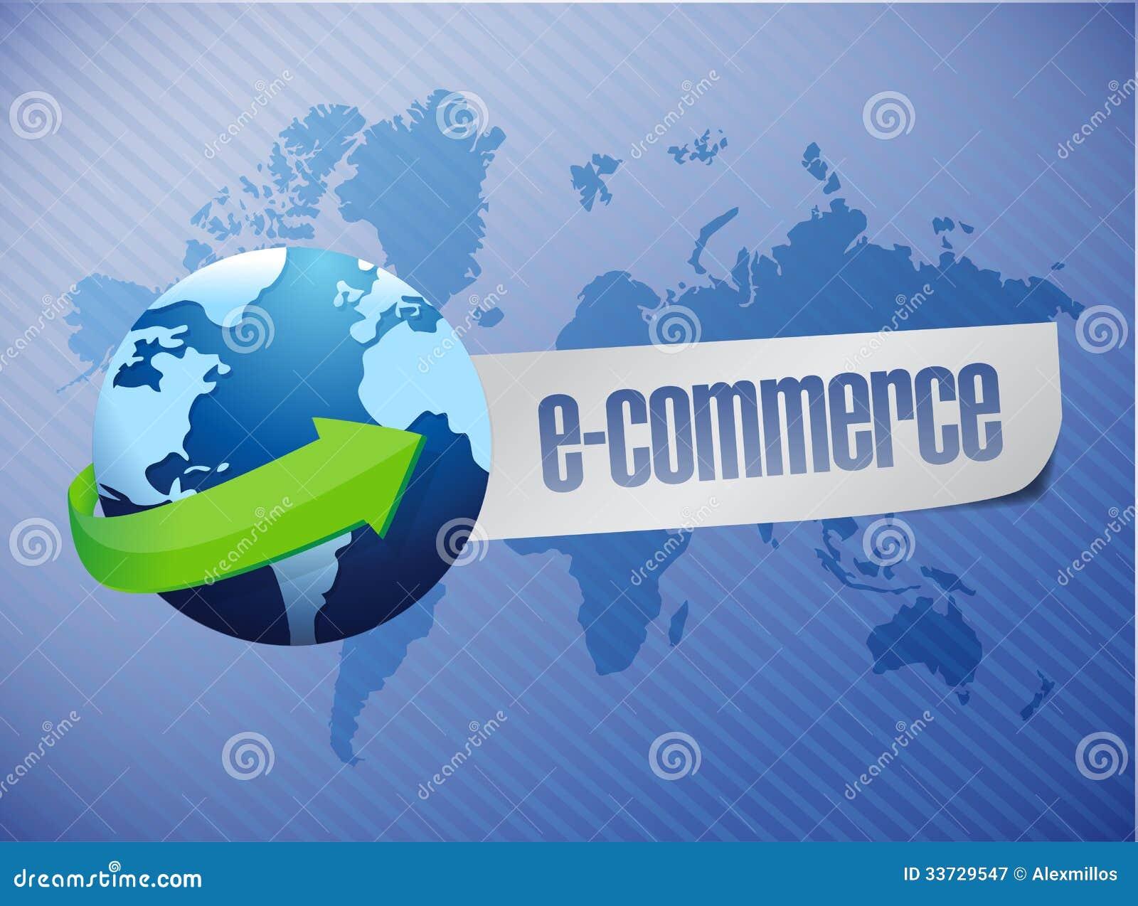 Коммерция e. дизайн иллюстрации карты мира